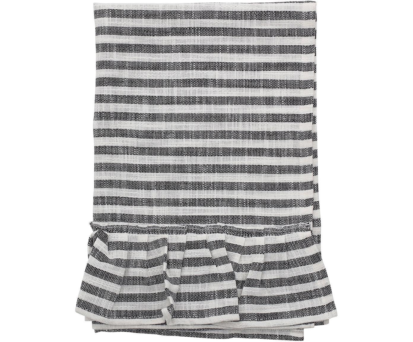 Theedoek Egina met franjes, Katoen, Zwart, gebroken wit, 45 x 70 cm