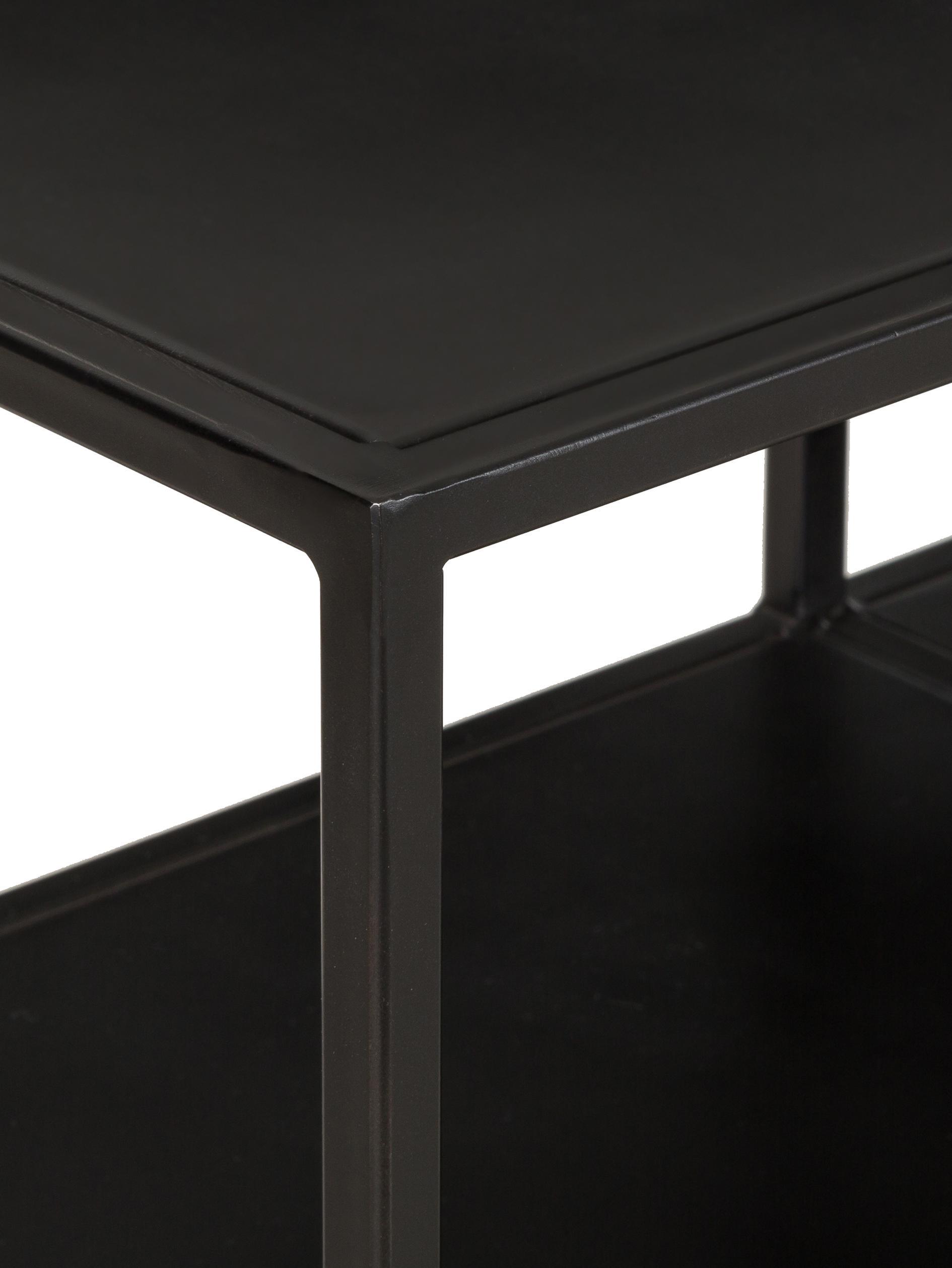 Metall-Standregal Display in Schwarz, Metall, pulverbeschichtet, Schwarz, 130 x 74 cm