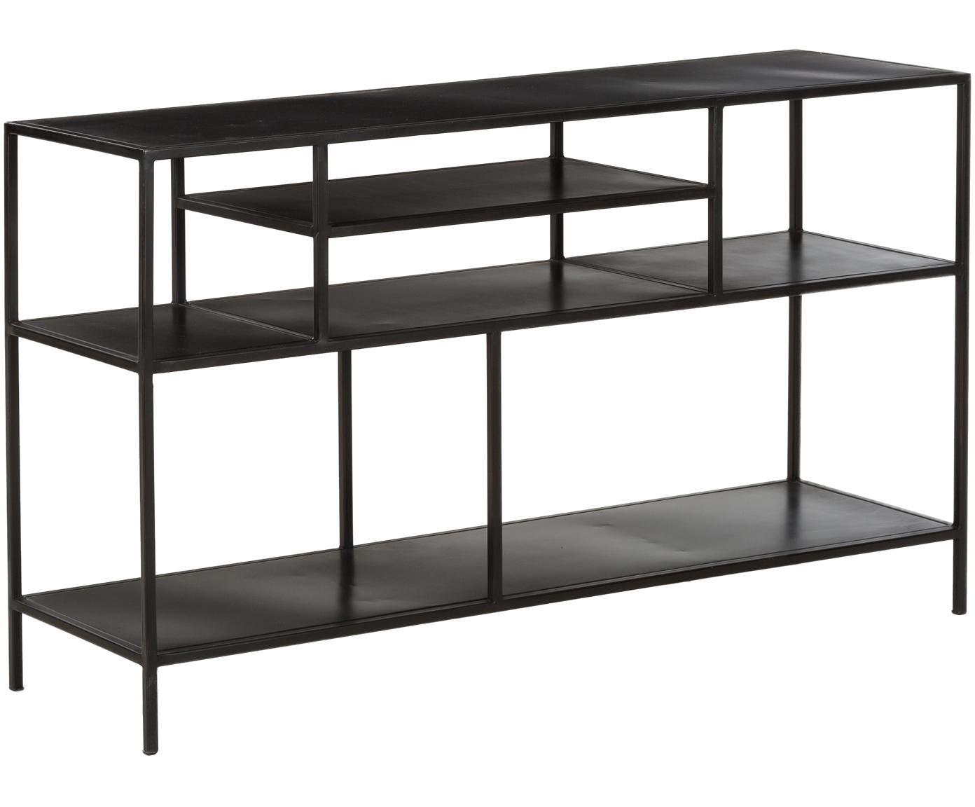 Metalen wandrek Display in zwart, Gepoedercoat metaal, Zwart, B 130 cm