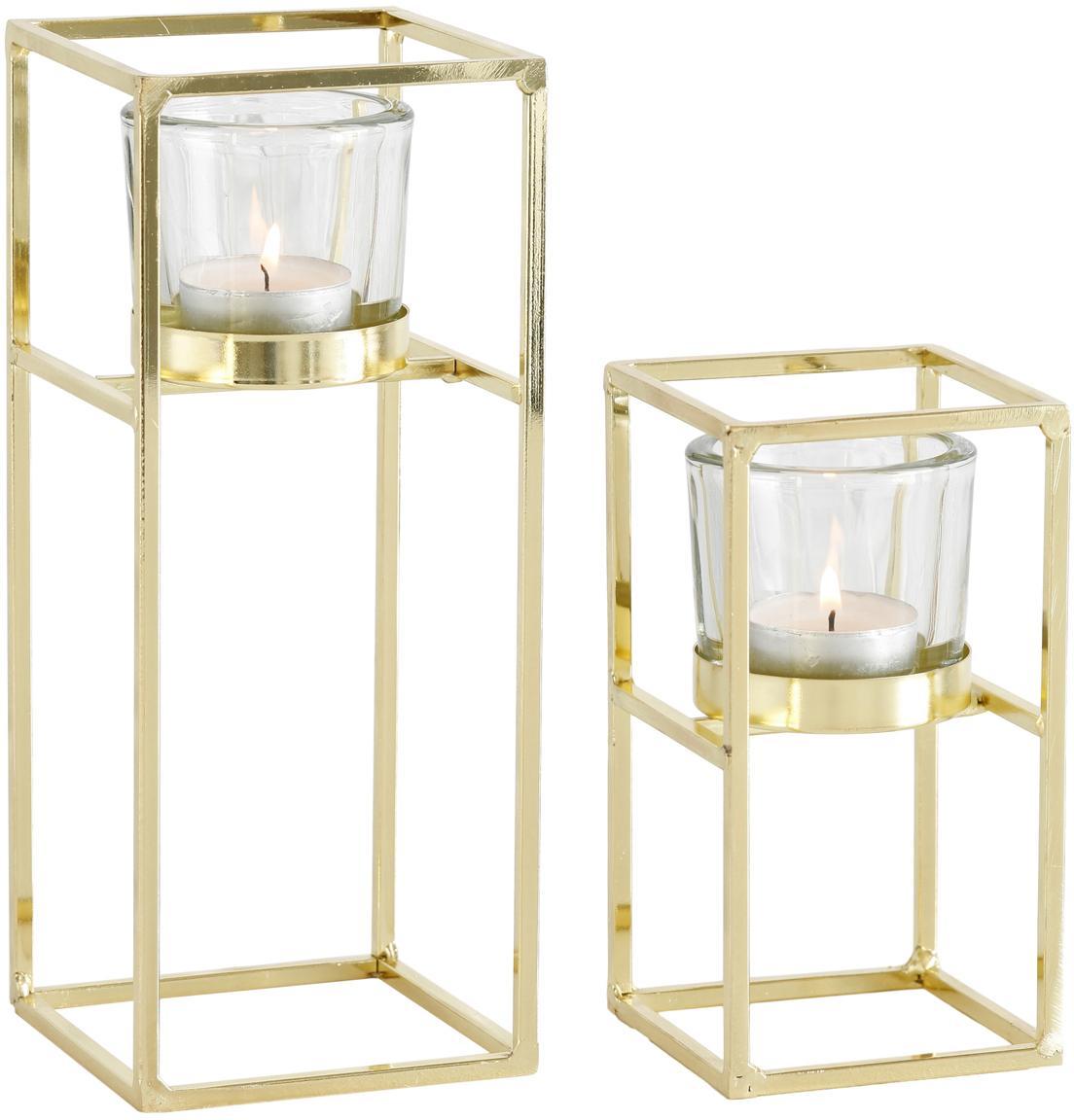Windlichtenset Tomba, 2-delig, Windlicht: glas, Frame: gecoat metaal, Transparant, messingkleurig, Set met verschillende formaten
