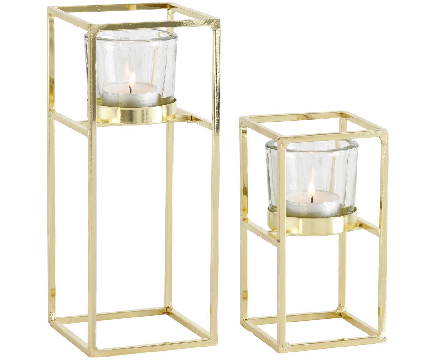 Windlichter-Set Tomba, 2-tlg., Windlicht: Glas, Gestell: Metall, beschichtet, Transparent, Messingfarben, Verschiedene Grössen