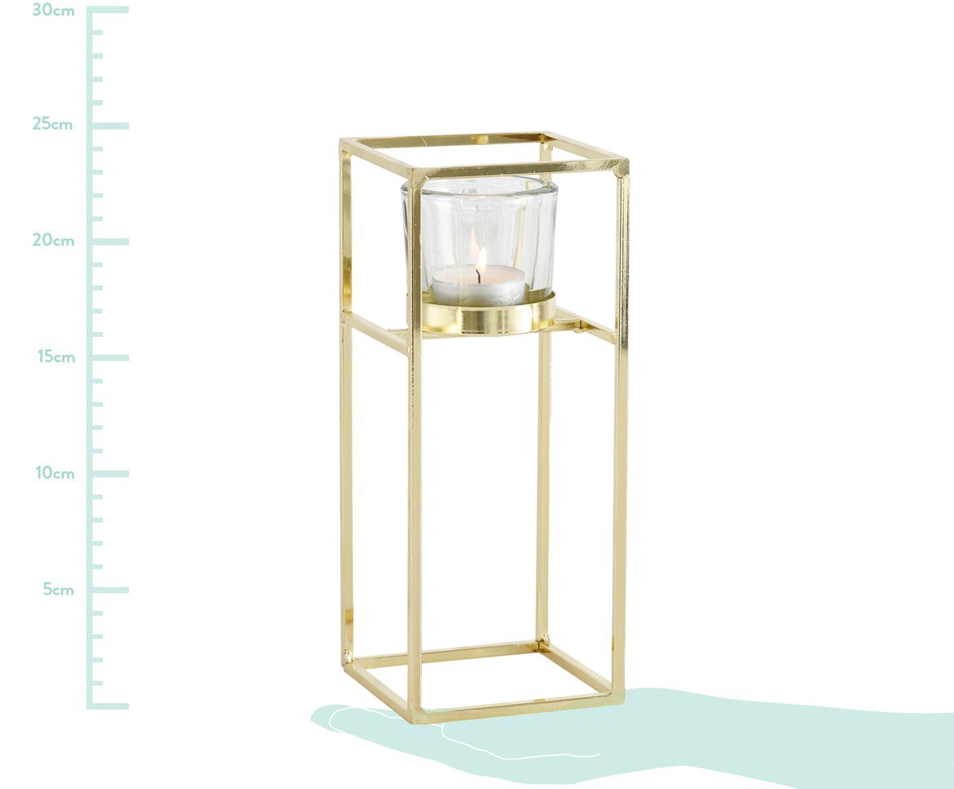 Komplet świeczników Tomba, 2 elem., Stelaż: metal powlekany, Transparentny, odcienie mosiądzu, Różne rozmiary