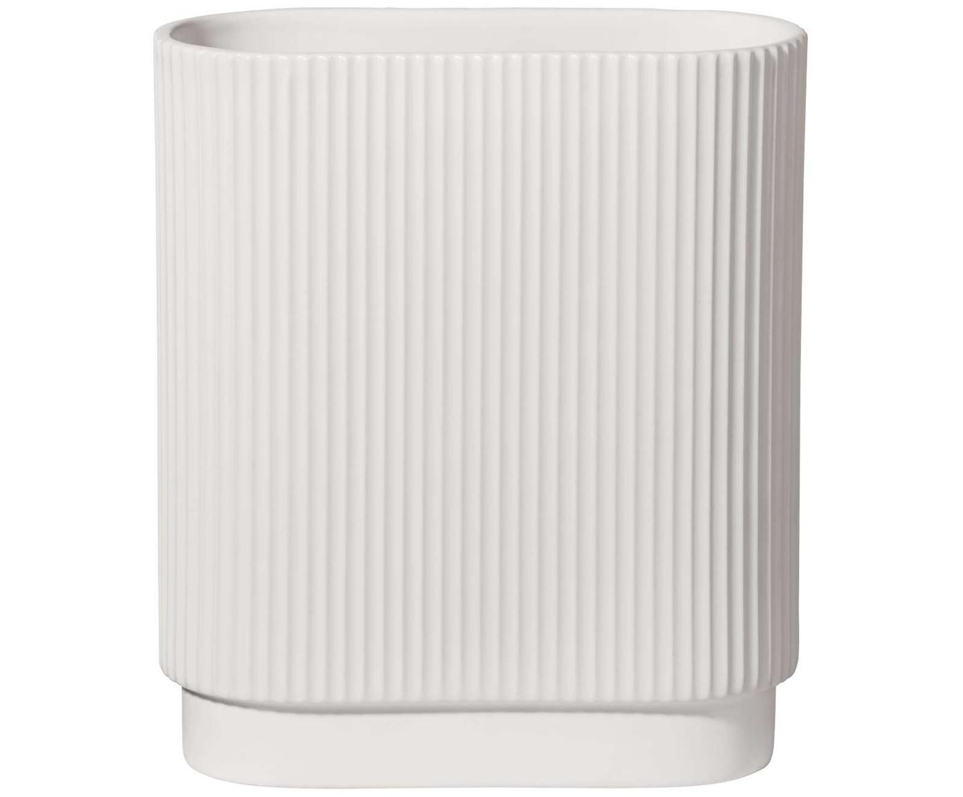 Grosse Vase Art Deco aus Porzellan, Porzellan, Weiss, 17 x 20 cm