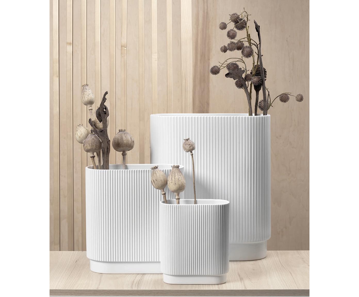 Große Vase Art Deco aus Porzellan, Porzellan, Weiß, 26 x 27 cm