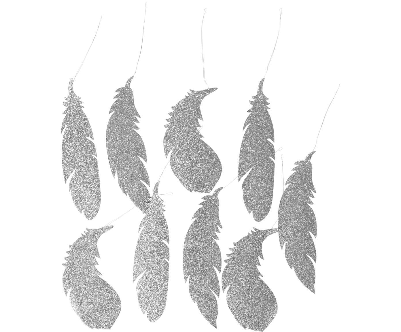 Baumanhänger Feder, 9 Stück, Glitzerpapier, Silberfarben, 8 x 20 cm