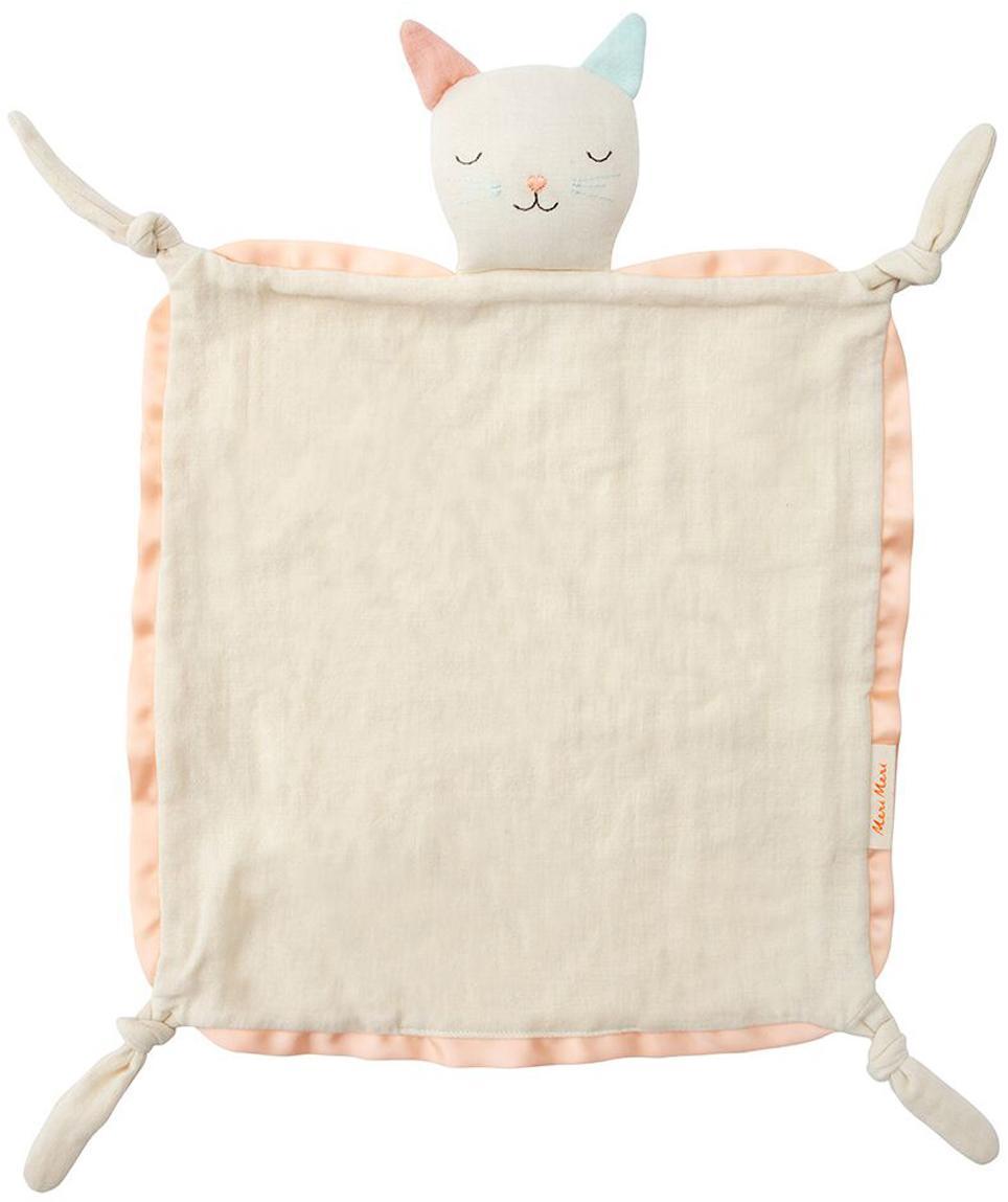 Doudou in cotone organico Cat, Bordo: raso di cotone, Bianco crema, rosa, azzurro, Larg. 40 x Lung. 46 cm