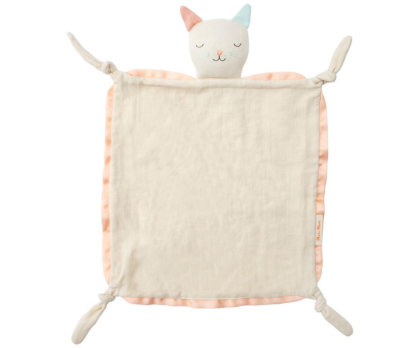 Przytulanka kocyk z bawełny organicznej Cat, Kremowobiały, blady różowy, jasny niebieski, S 40 x D 46 cm