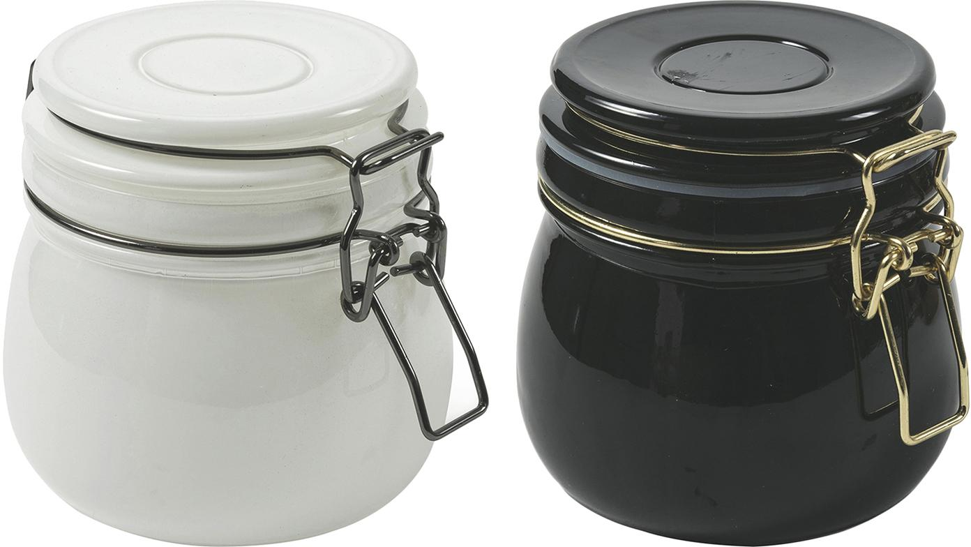Aufbewahrungsdosen-Set Modern, 2-tlg., Behälter: Glas,, Verschluss: Metall, Weiß, Schwarz, Ø 11 x H 10 cm
