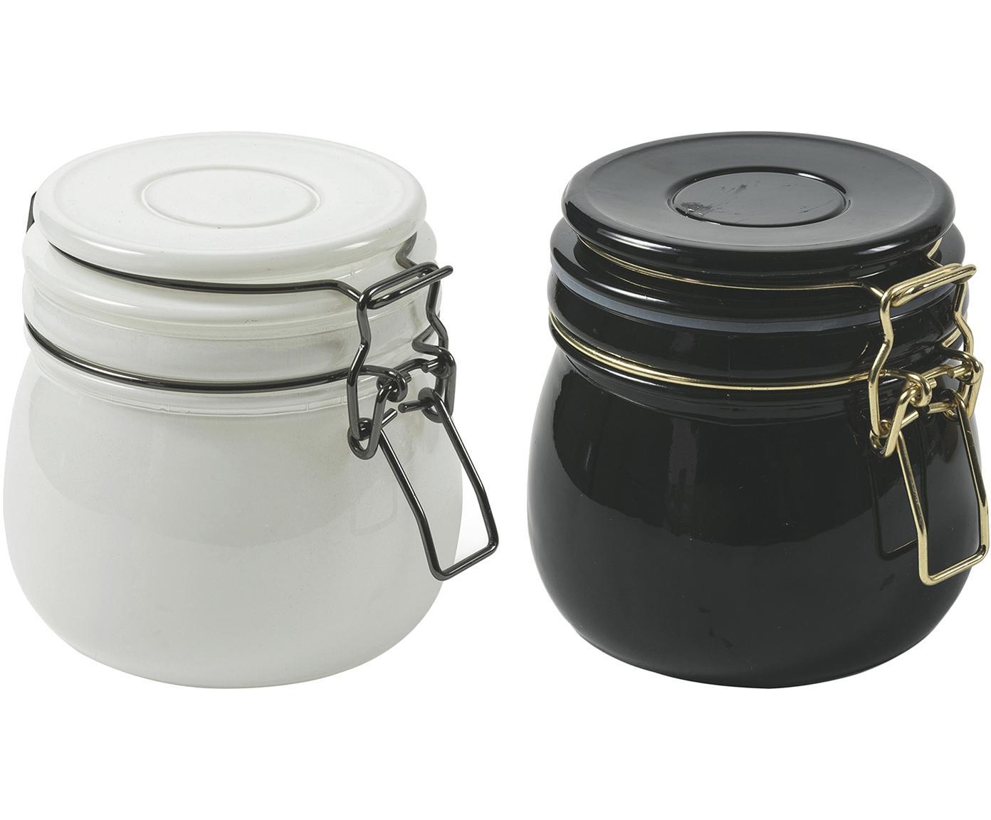 Set 2 contenitori Modern, Vetro, metallo, Bianco, nero, Ø 11 x Alt. 10 cm