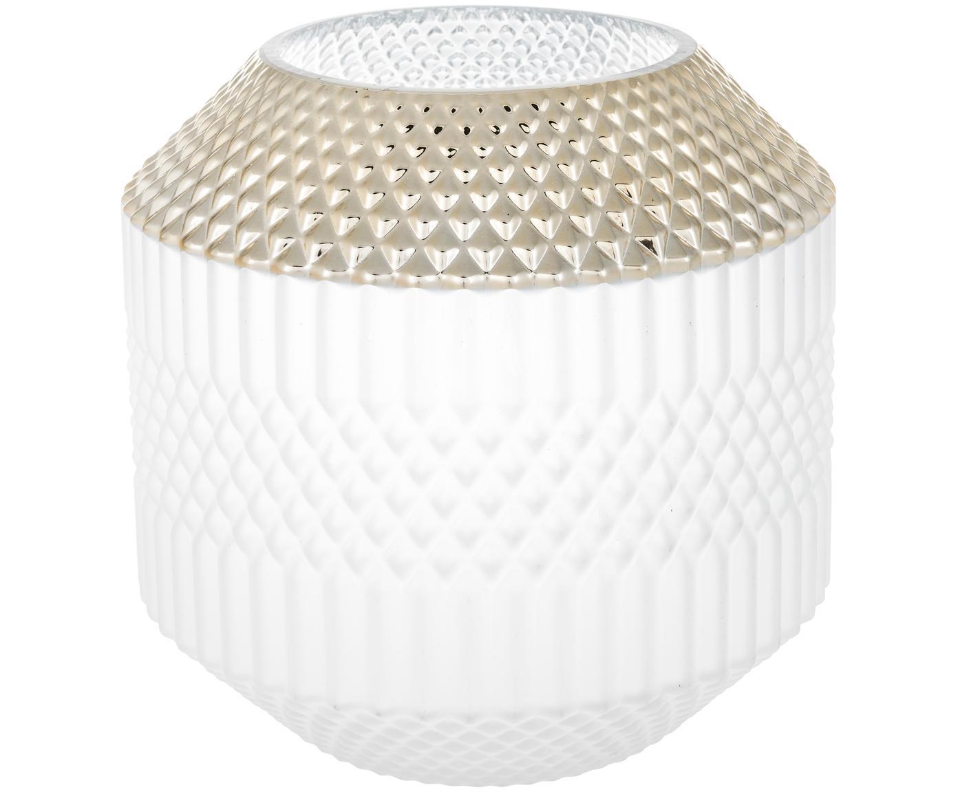 Wazon Dolin, Szkło, Biały, odcienie złotego, Ø 20 x W 20 cm