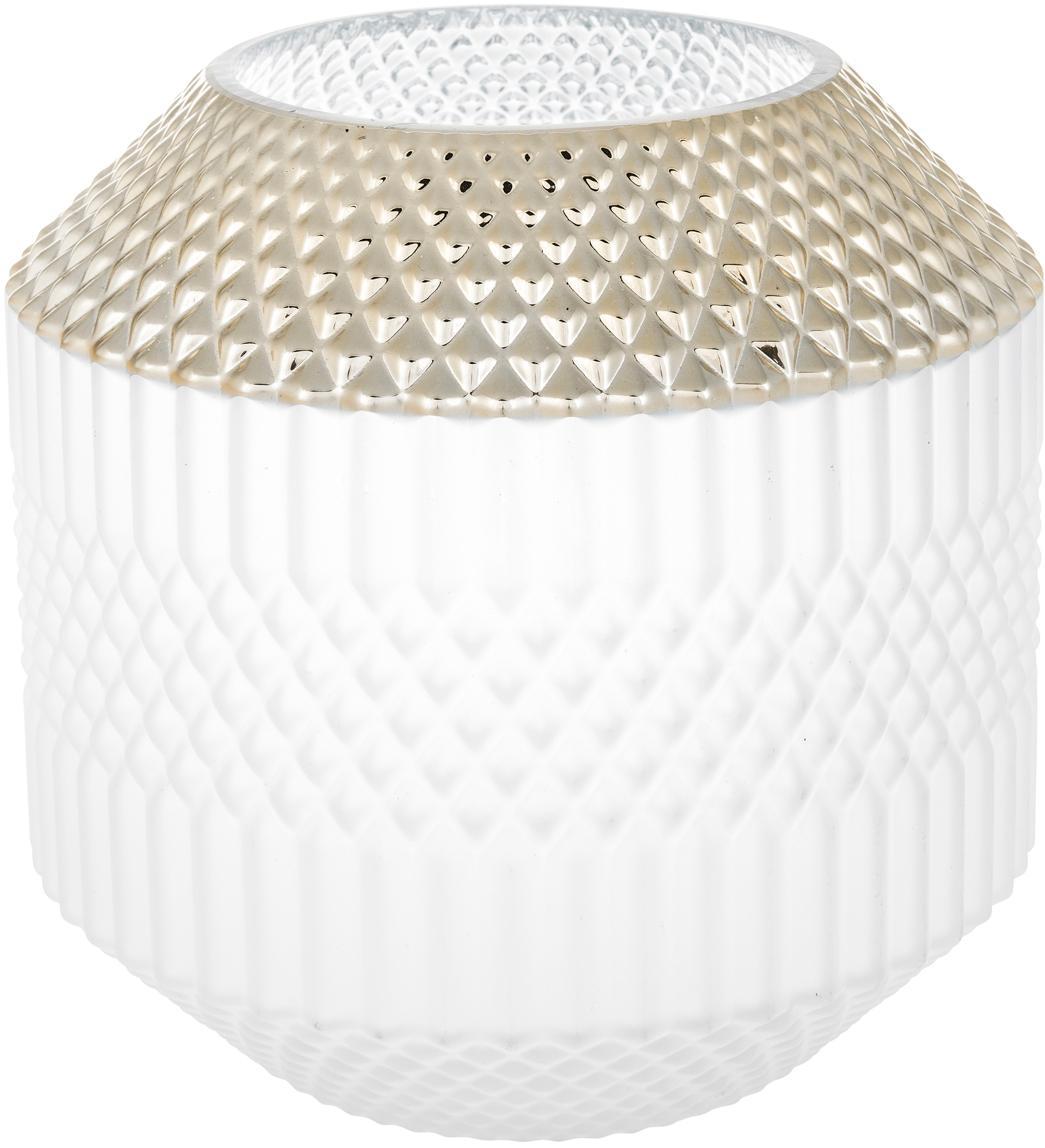 Glas-Vase Dolin, Glas, Weiß, Goldfarben, Ø 20 x H 20 cm