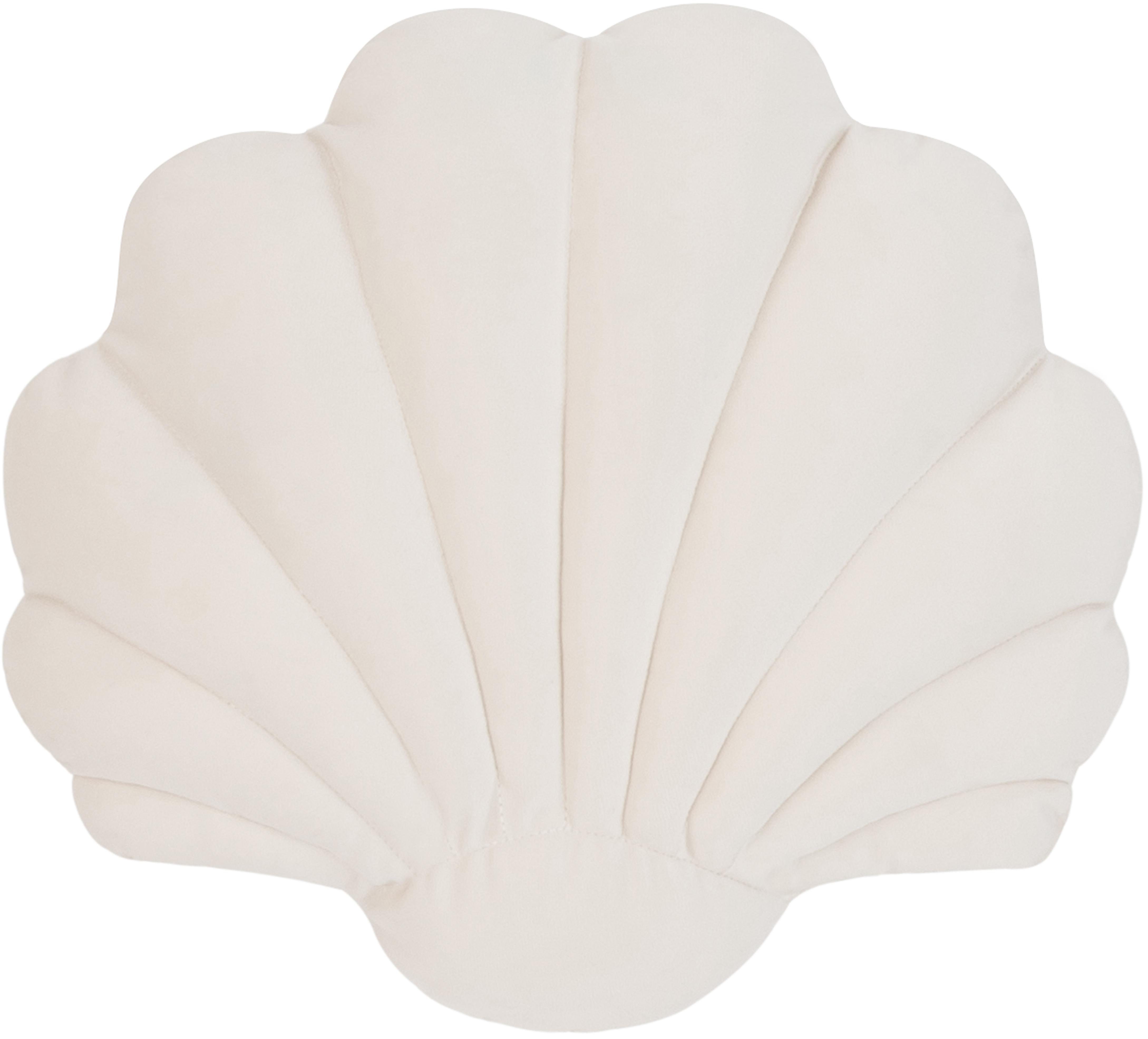 Cojín de terciopelo Shell, Parte delantera: 100%terciopelo de algodó, Parte trasera: 100%algodón, Blanco crema, An 28 x L 30 cm