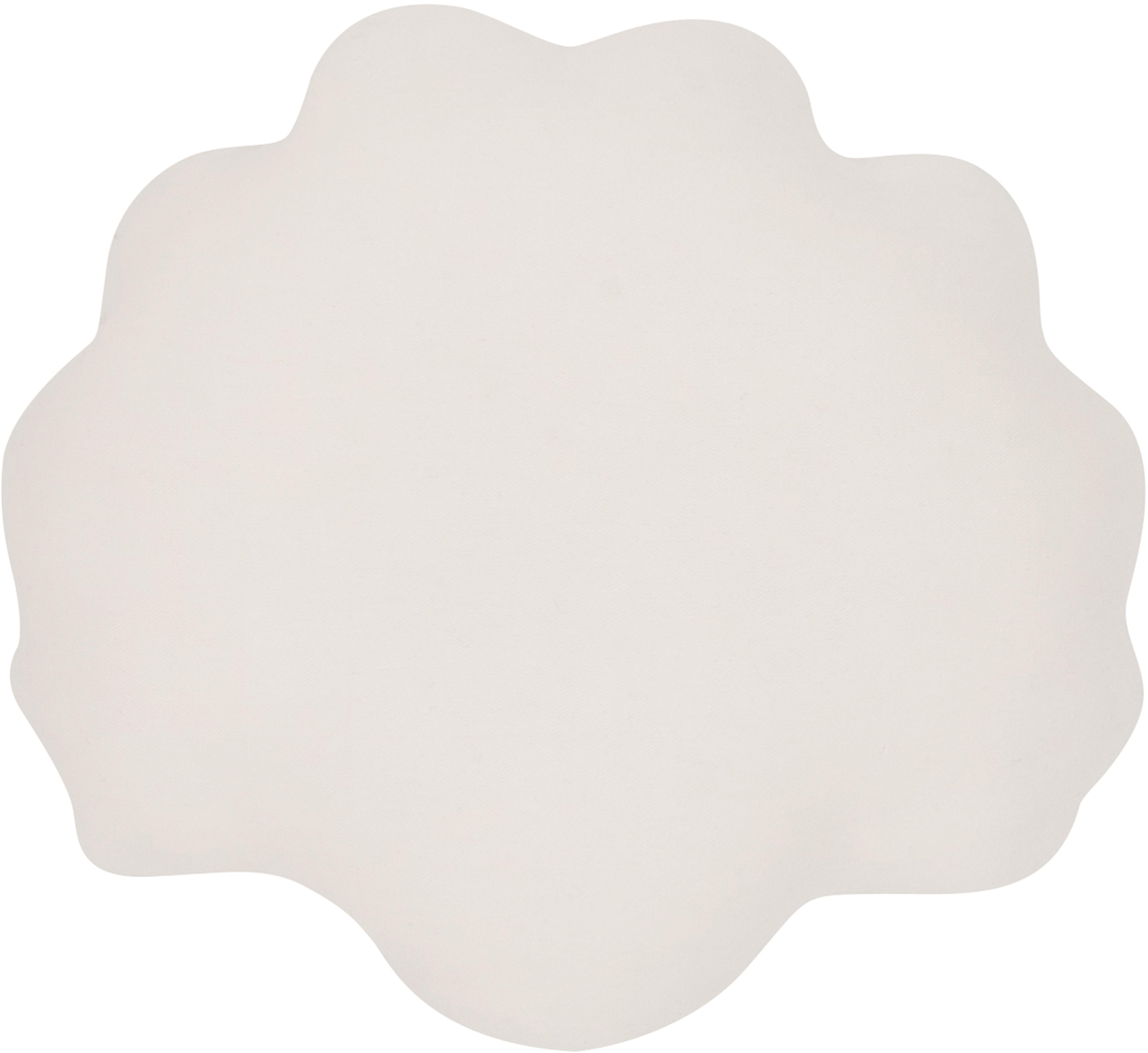 Samtkissen Shell, Vorderseite: 100% Polyestersamt, Rückseite: 100% Baumwolle, Cremeweiß, 28 x 30 cm