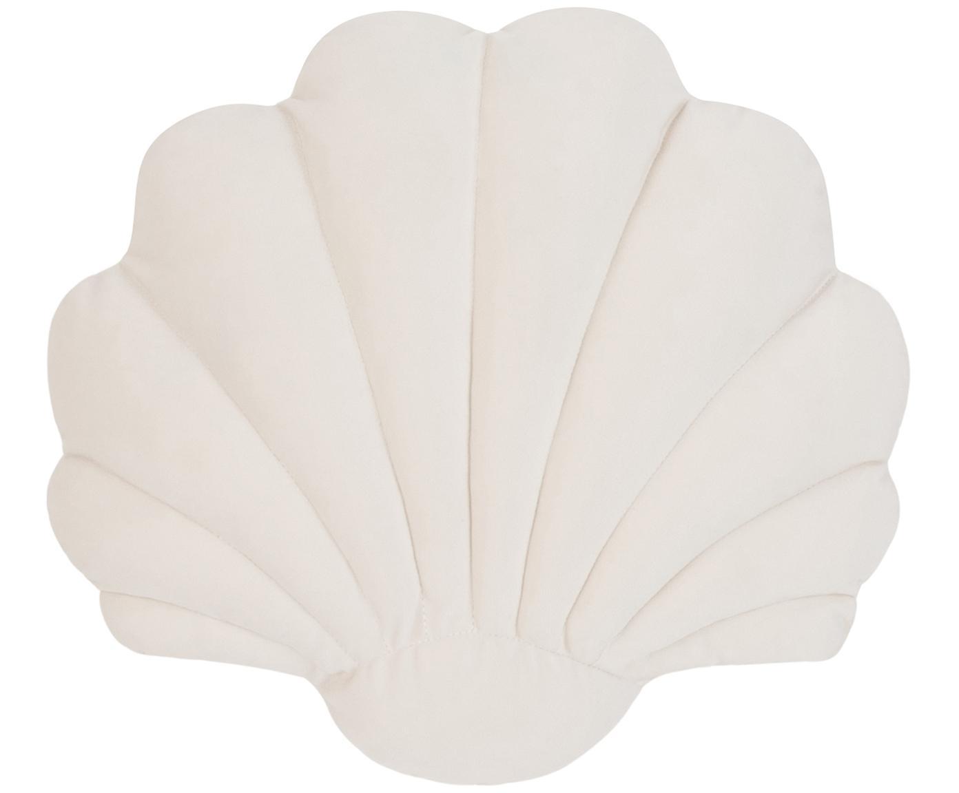 Cojín de terciopelo Shel, con relleno, Parte delantera: 100%terciopelo de algodó, Parte trasera: 100%algodón, Blanco crema, An 28 x L 30 cm