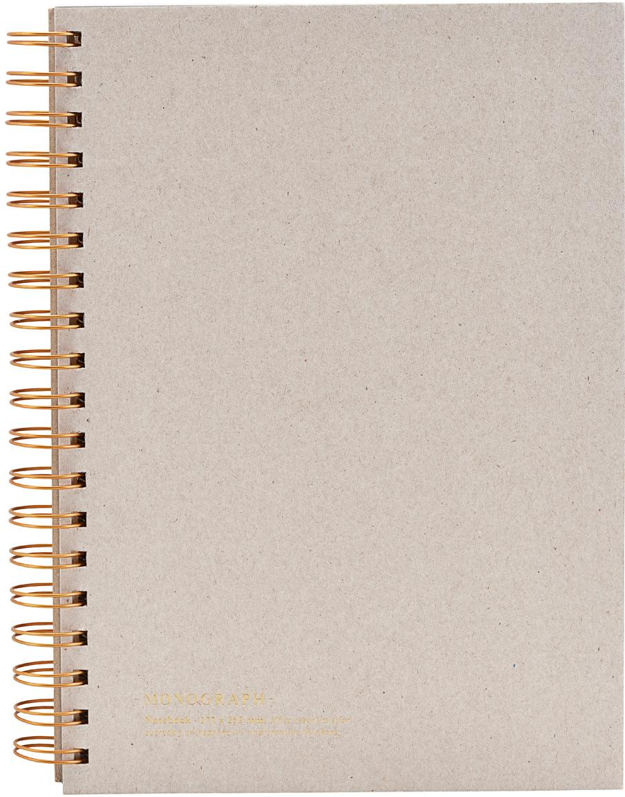 Notizbuch Tab, Beige, Kupferfarben, 18 x 25 cm