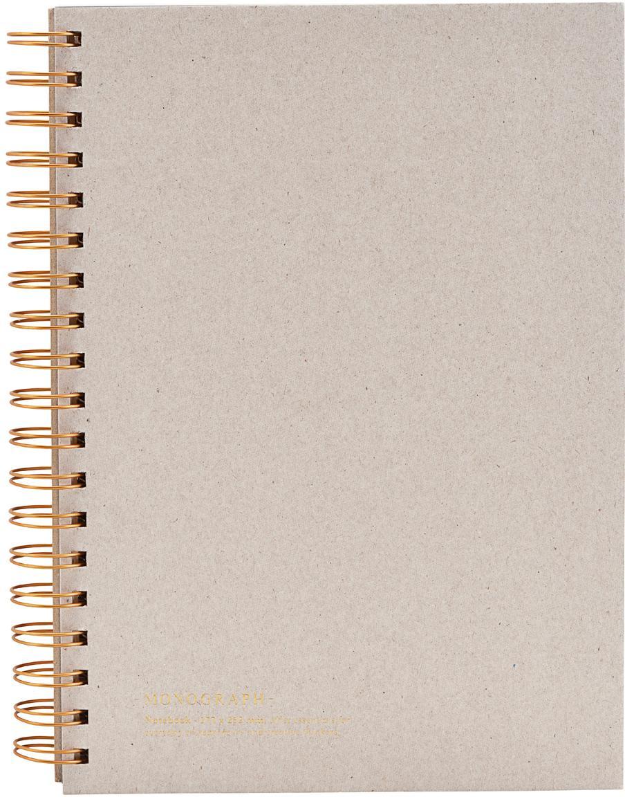 Quaderno a spirale Tab, Beige, ramato, Larg. 18 x Alt. 25 cm