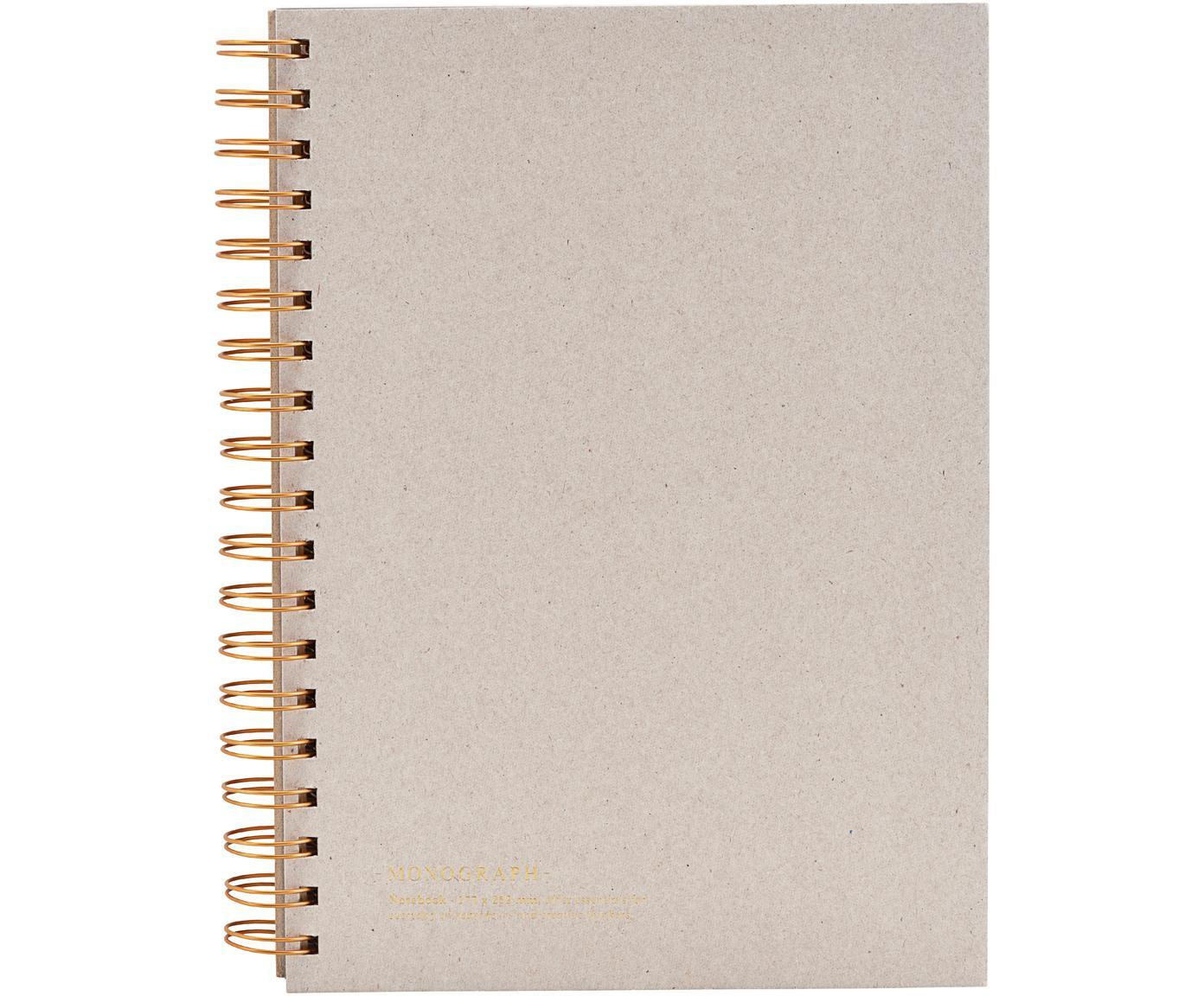 Quaderno a spirale Tab, Beige, rame, Larg. 18 x Alt. 25 cm