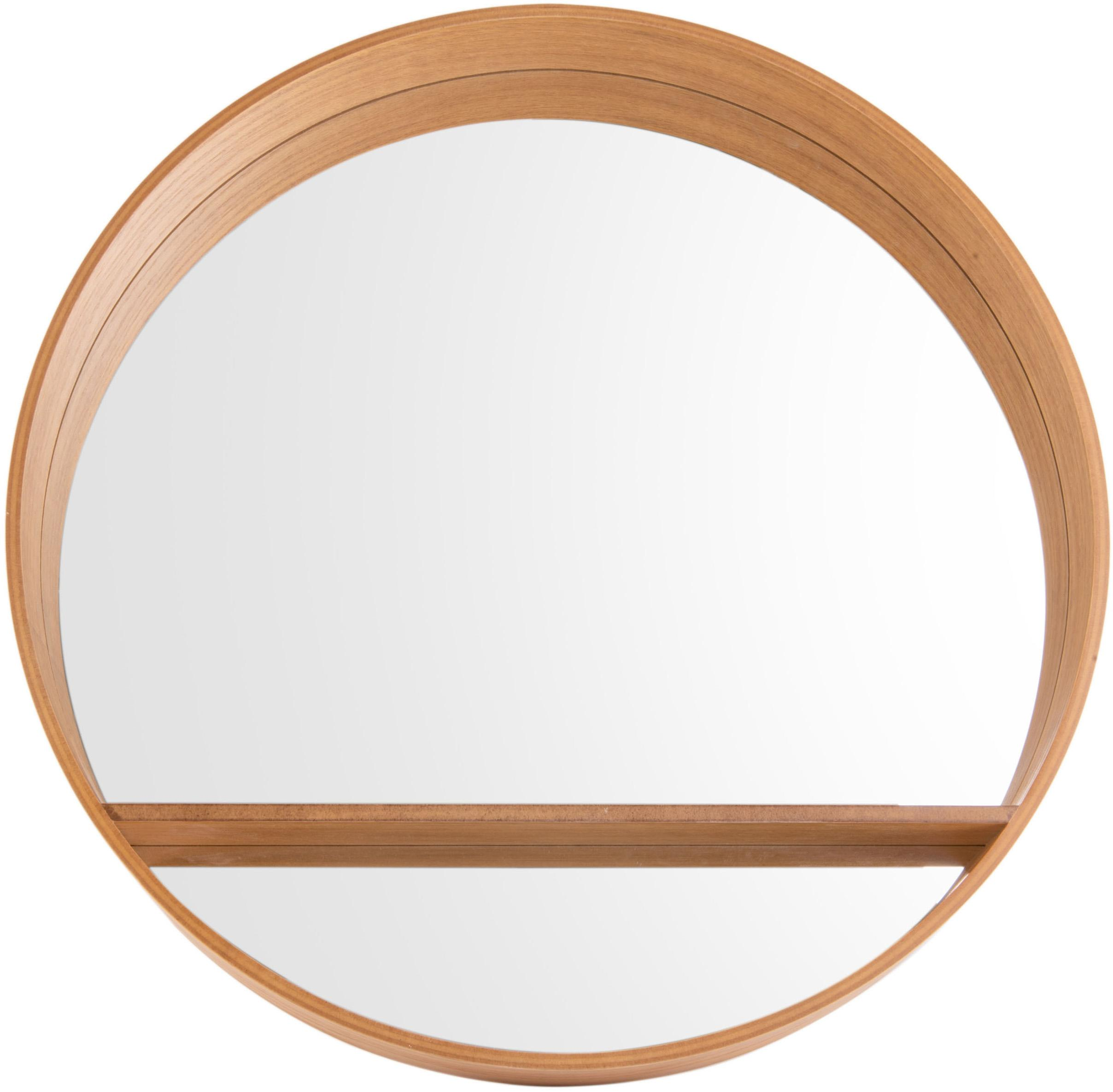 Wandspiegel Sheer, Spiegelfläche: Spiegelglas, Braun, Ø 61 cm