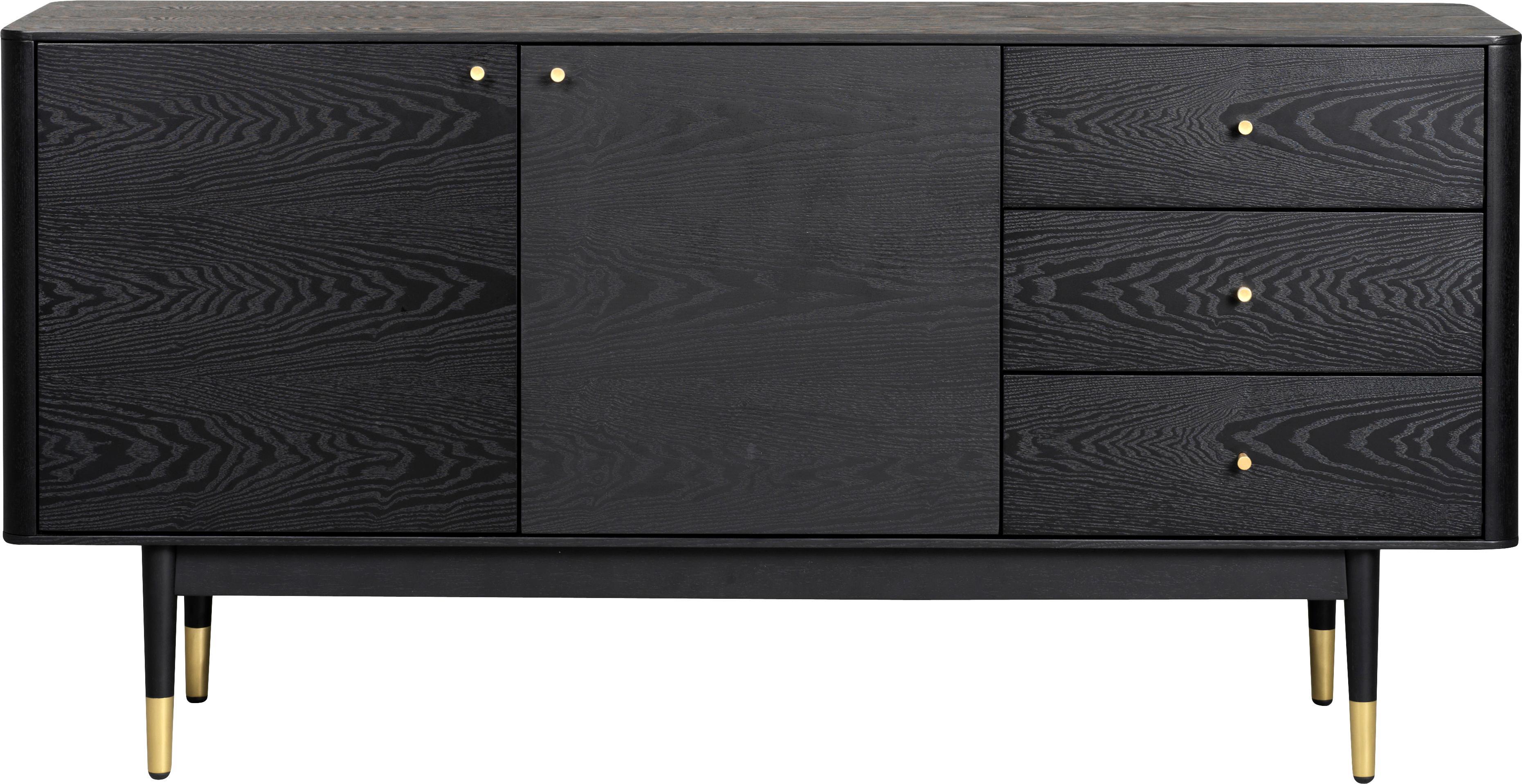 Schwarzes Sideboard Fenwood mit Eichenholzfurnier, Korpus: Mitteldichte Holzfaserpla, Schwarz, Messingfarben, 160 x 79 cm