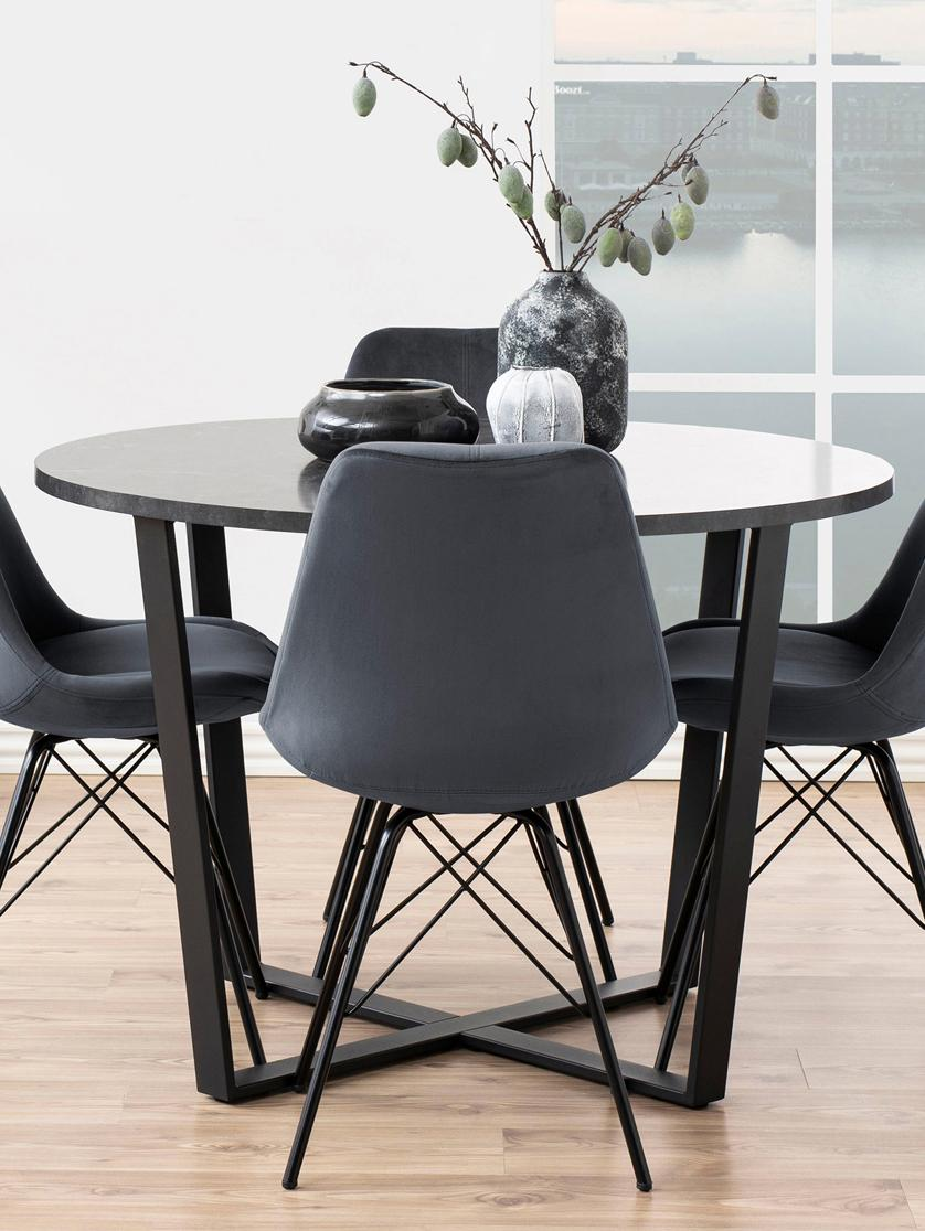 Runder Esstisch Amble mit Tischplatte in Marmor-Optik, Tischplatte: Mitteldichte Holzfaserpla, Schwarz, Ø 110 x H 75 cm