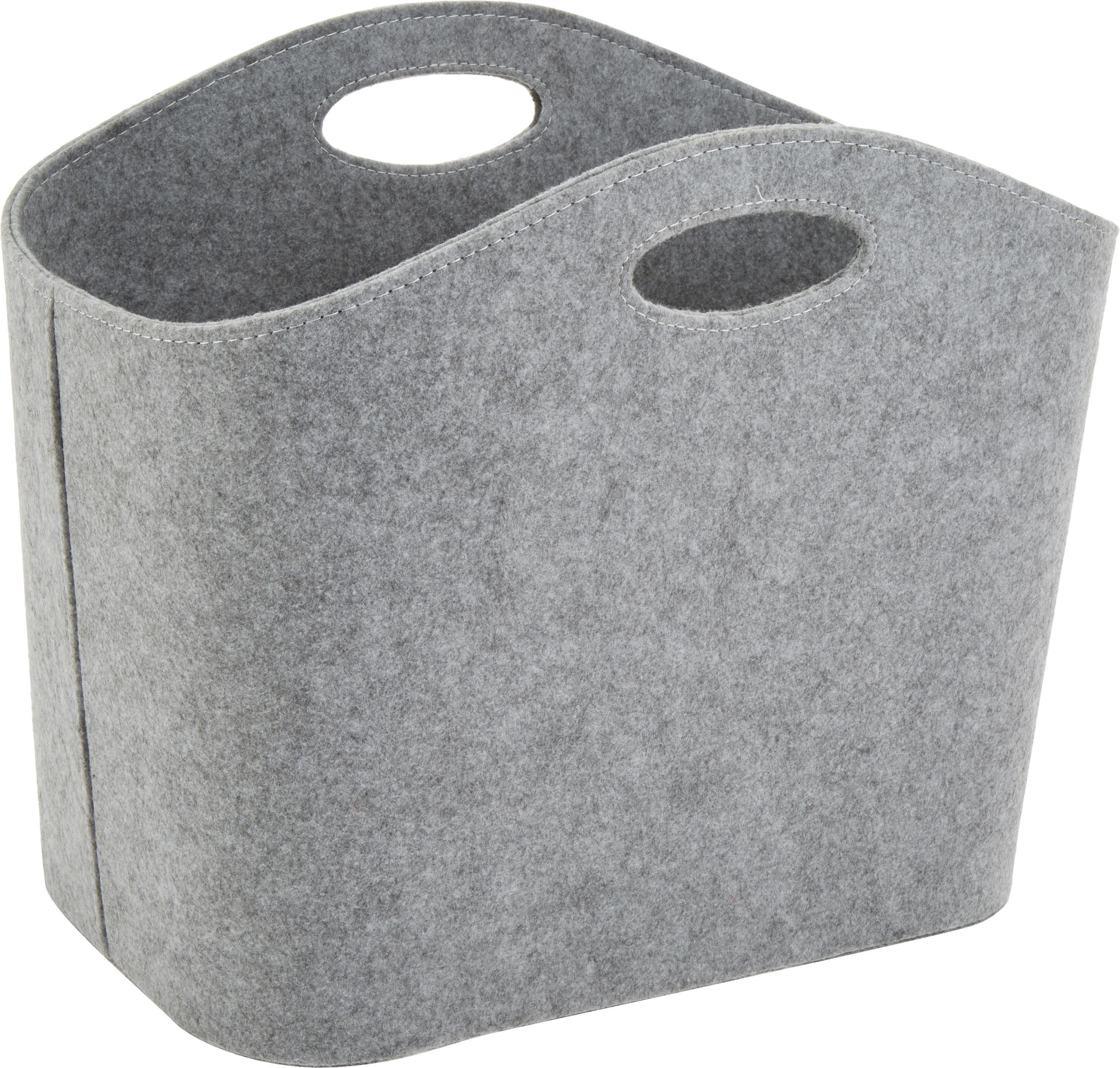Kosz do przechowywania Mascha, Filc wykonany z tworzywa sztucznego pochącącego z recyklingu, Szary, D 45 x S 30 cm