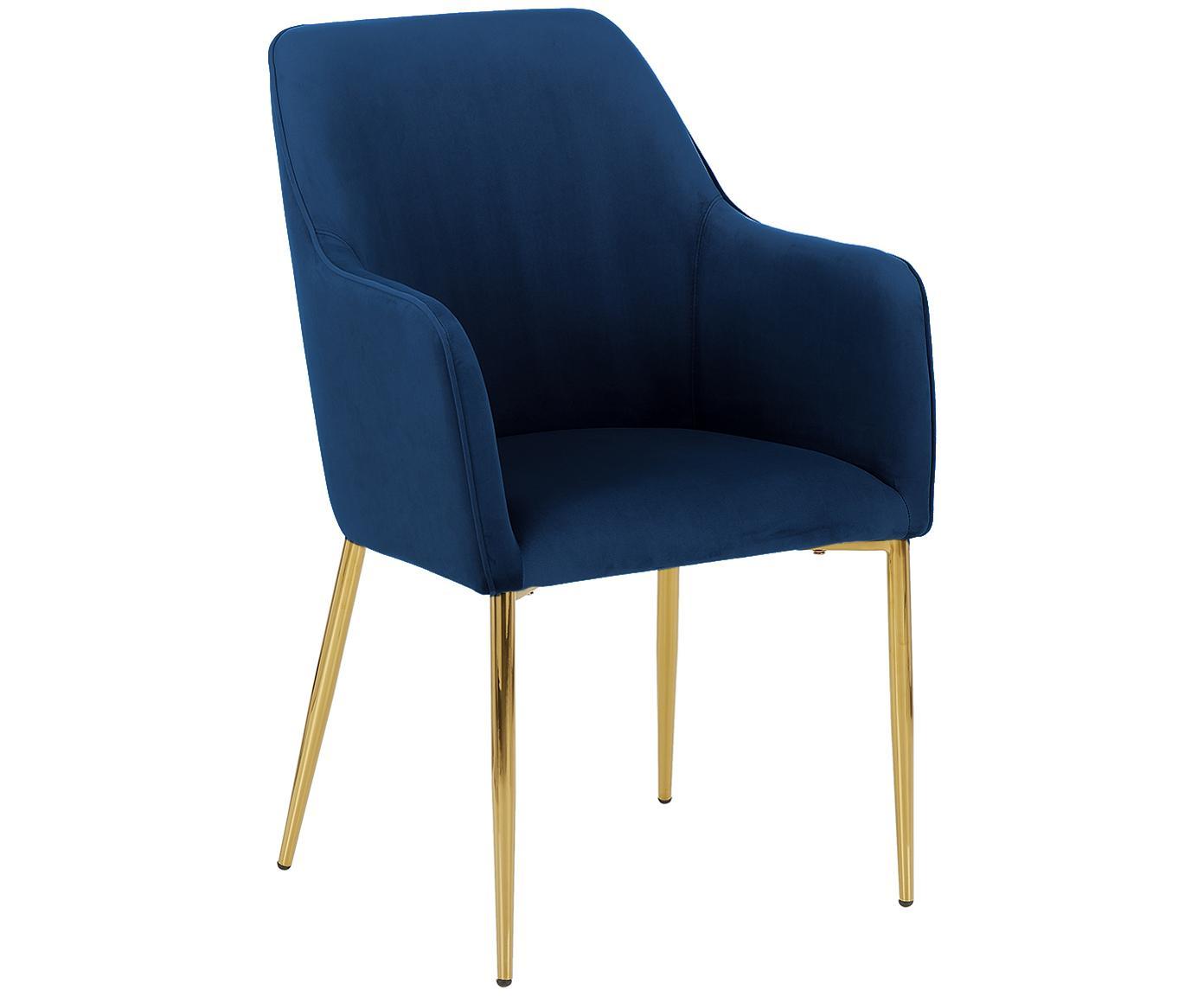 Samt-Armlehnstuhl Ava mit goldfarbenen Beinen, Bezug: Samt (Polyester) 50.000 S, Beine: Metall, galvanisiert, Dunkelblau, B 57 x T 63 cm