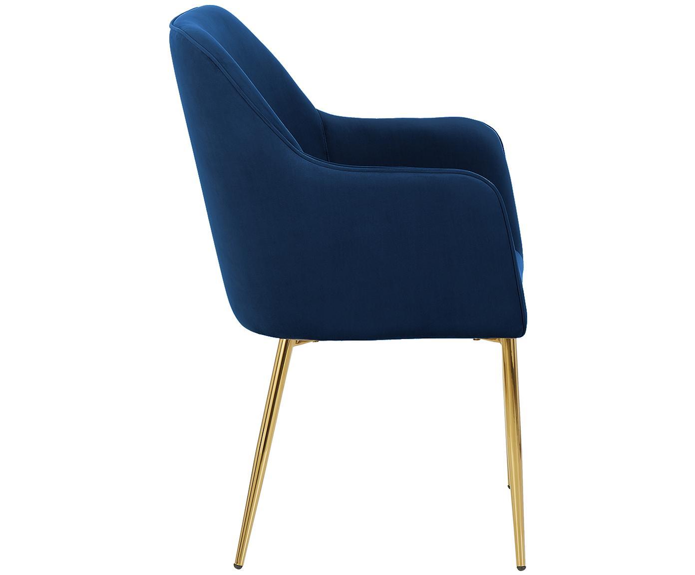 Krzesło z podłokietnikami  z aksamitu Ava, Tapicerka: aksamit (poliester) 5000, Nogi: metal galwanizowany, Ciemnyniebieski, S 57 x G 62 cm