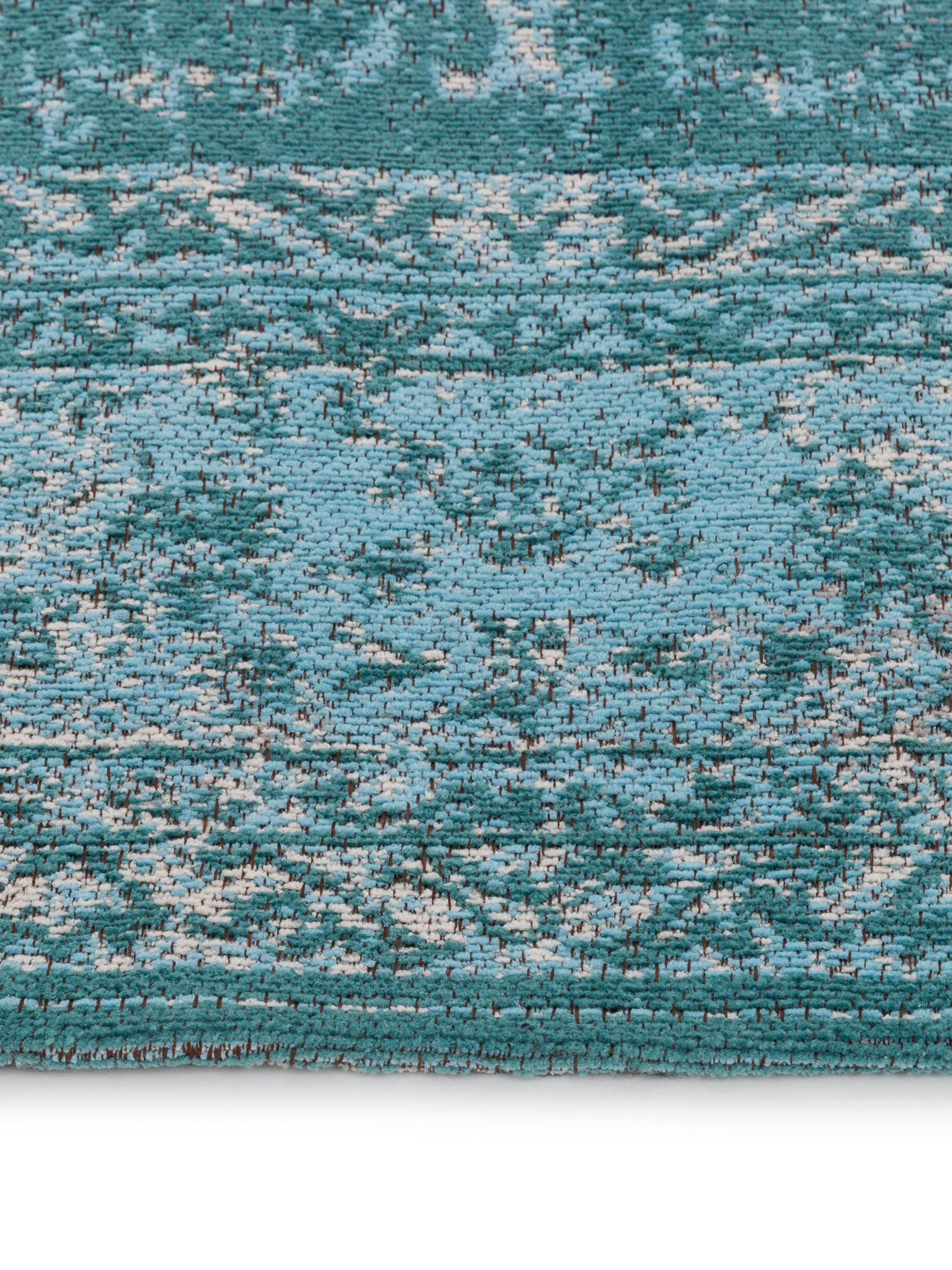 Vintage Chenilleteppich Palermo in Türkis, Flor: 95% Baumwolle, 5% Polyest, Türkis, Hellblau, Creme, B 120 x L 180 cm (Größe S)