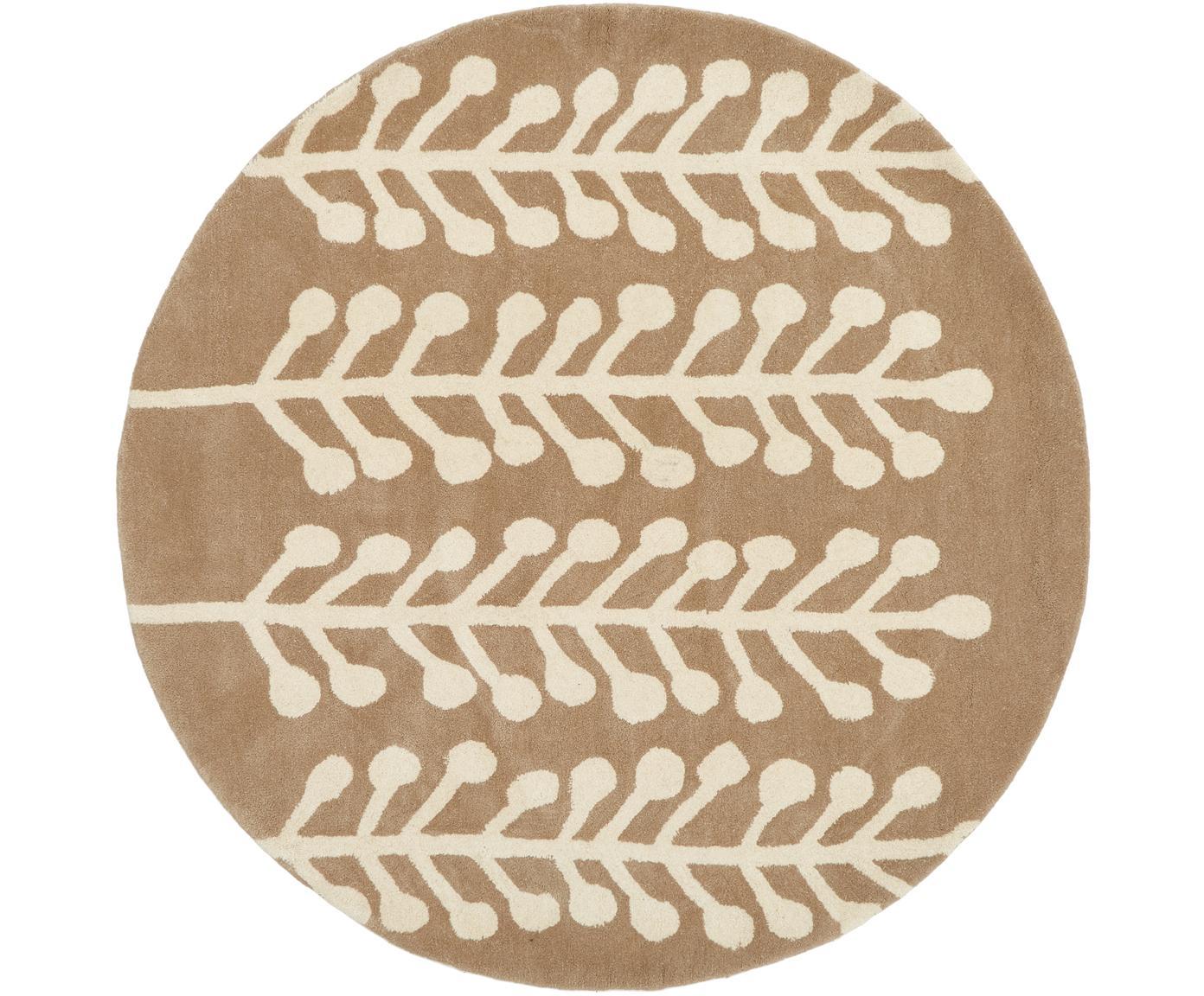 Runder Wollteppich Wool Herbs mit weißem Print, Flor: 100% Wolle, Hellbraun, Creme, Ø 200 cm (Größe L)
