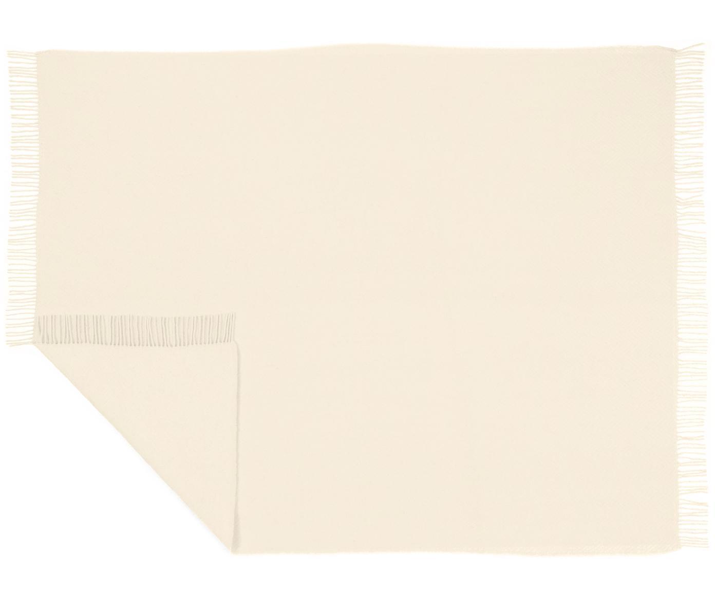 Woll-Plaid Aubrey mit feinem Zickzack-Muster, Creme, 140 x 200 cm