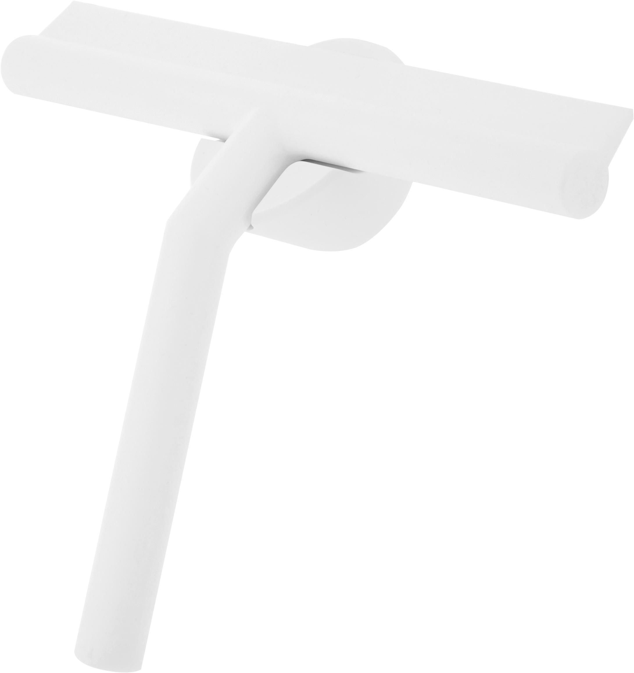 Tergivetro con supporto a parete Nova, Tergivetro: plastica (ABS), Labbro: silicone, Bianco, Larg. 21 x Alt. 5 cm