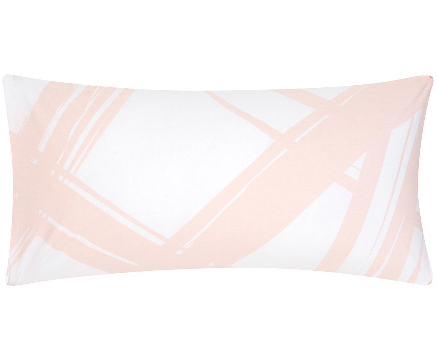 Baumwoll-Kissenbezüge Brush mit abstraktem Print, 2 Stück, Webart: Renforcé Fadendichte 144 , Hellapricot, Weiß, 40 x 80 cm