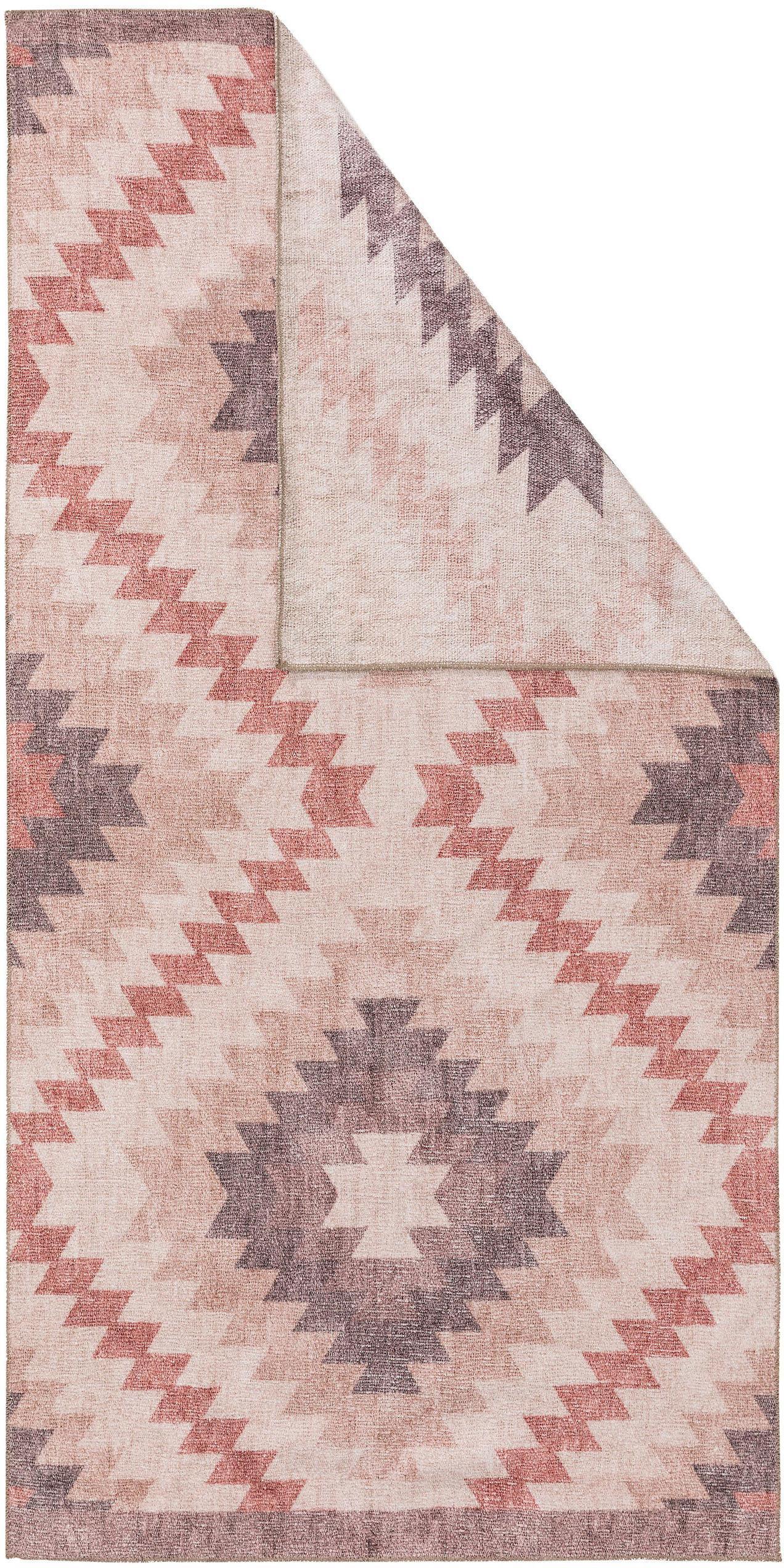Dubbelzijdig vloerkleed Kelim Ana Dimonds met ethnopatroon in rozetinten, 80% polyester 20% katoen, Oudroze, multicolour, B 75 x L 150 cm (maat XS)