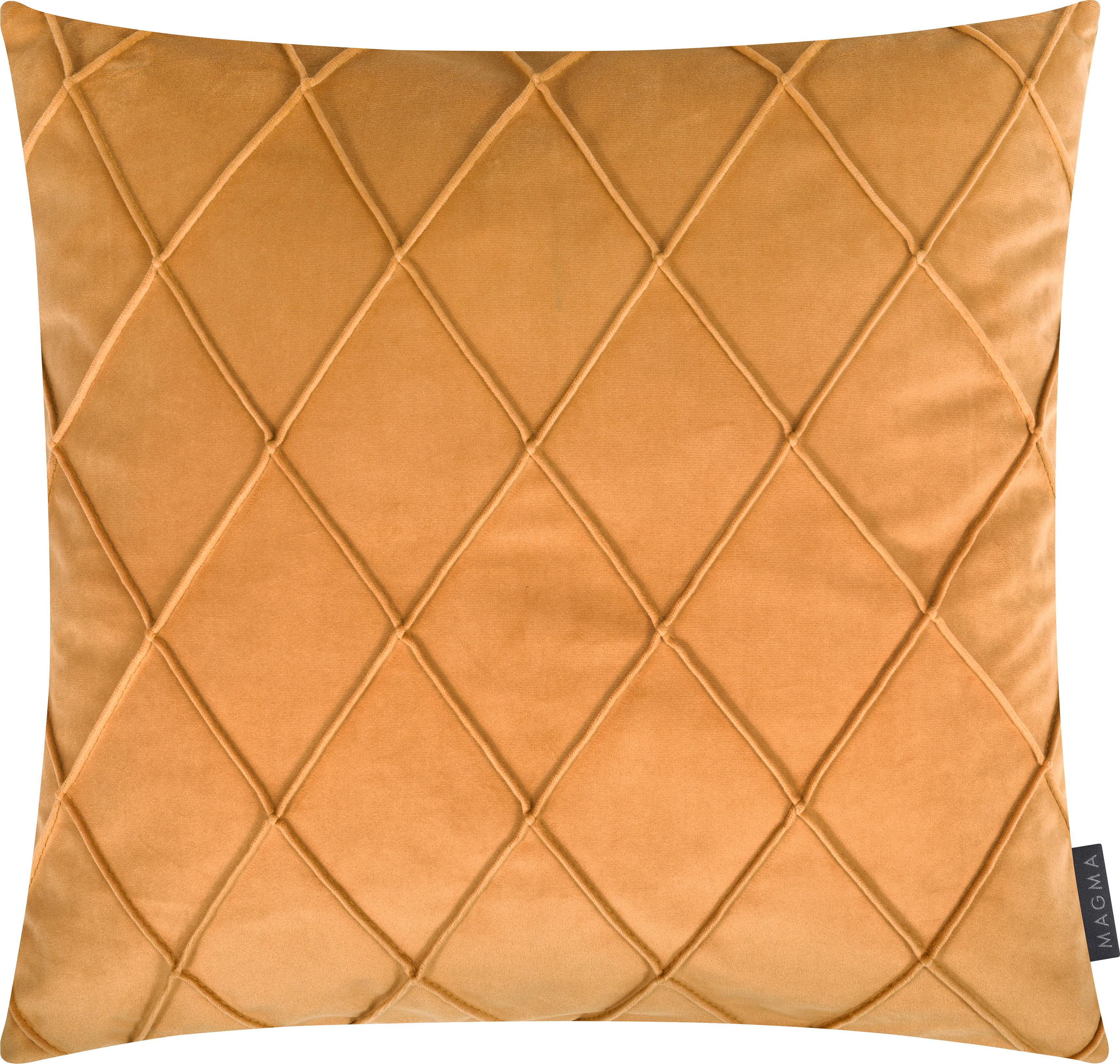 Funda de cojín de terciopelo Nobless, 100%terciopelo de poliéster, Amarillo, An 50 x L 50 cm