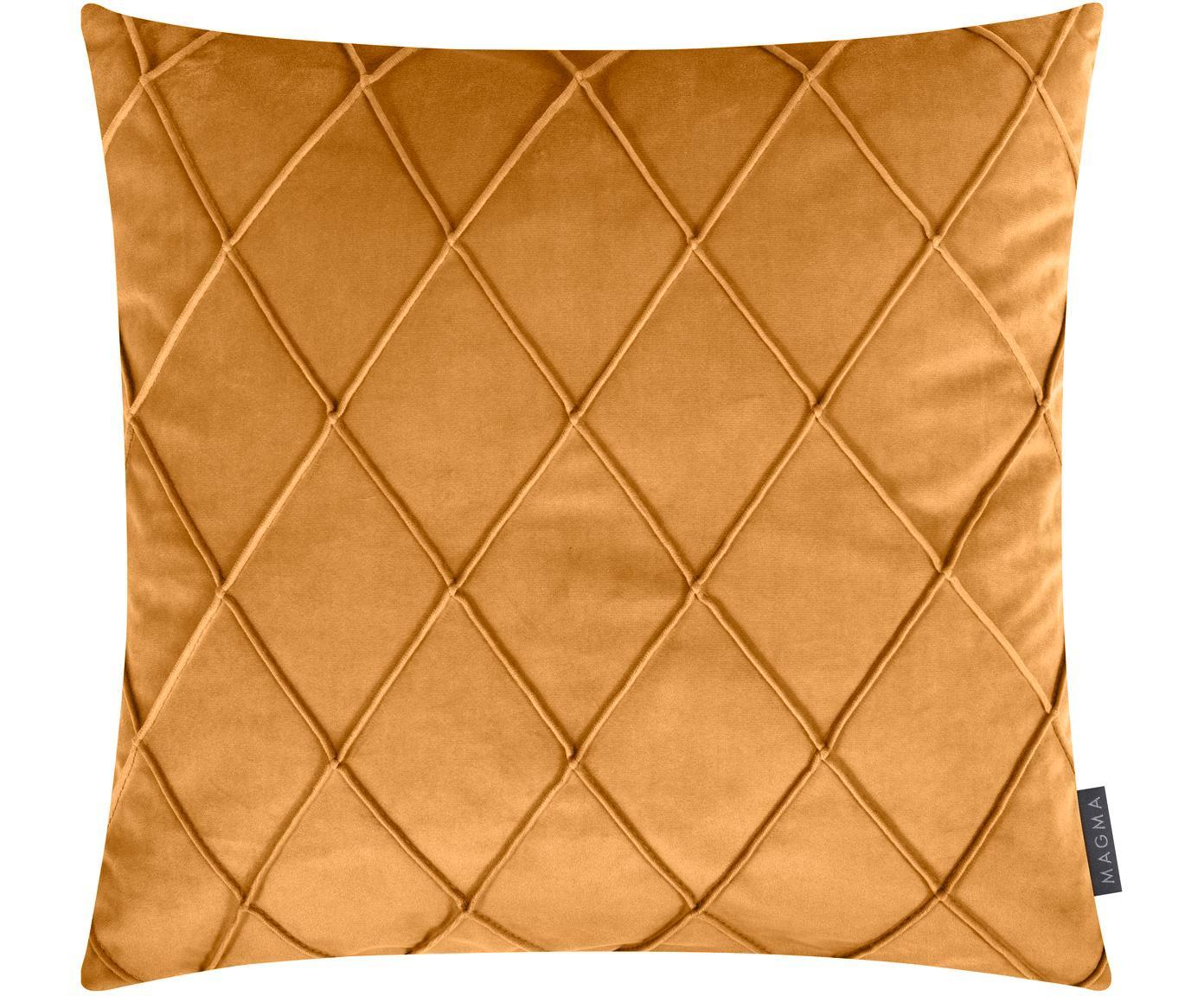 Samt-Kissenhülle Nobless mit erhabenem Rautenmuster, 100% Polyestersamt, Gelb, 50 x 50 cm