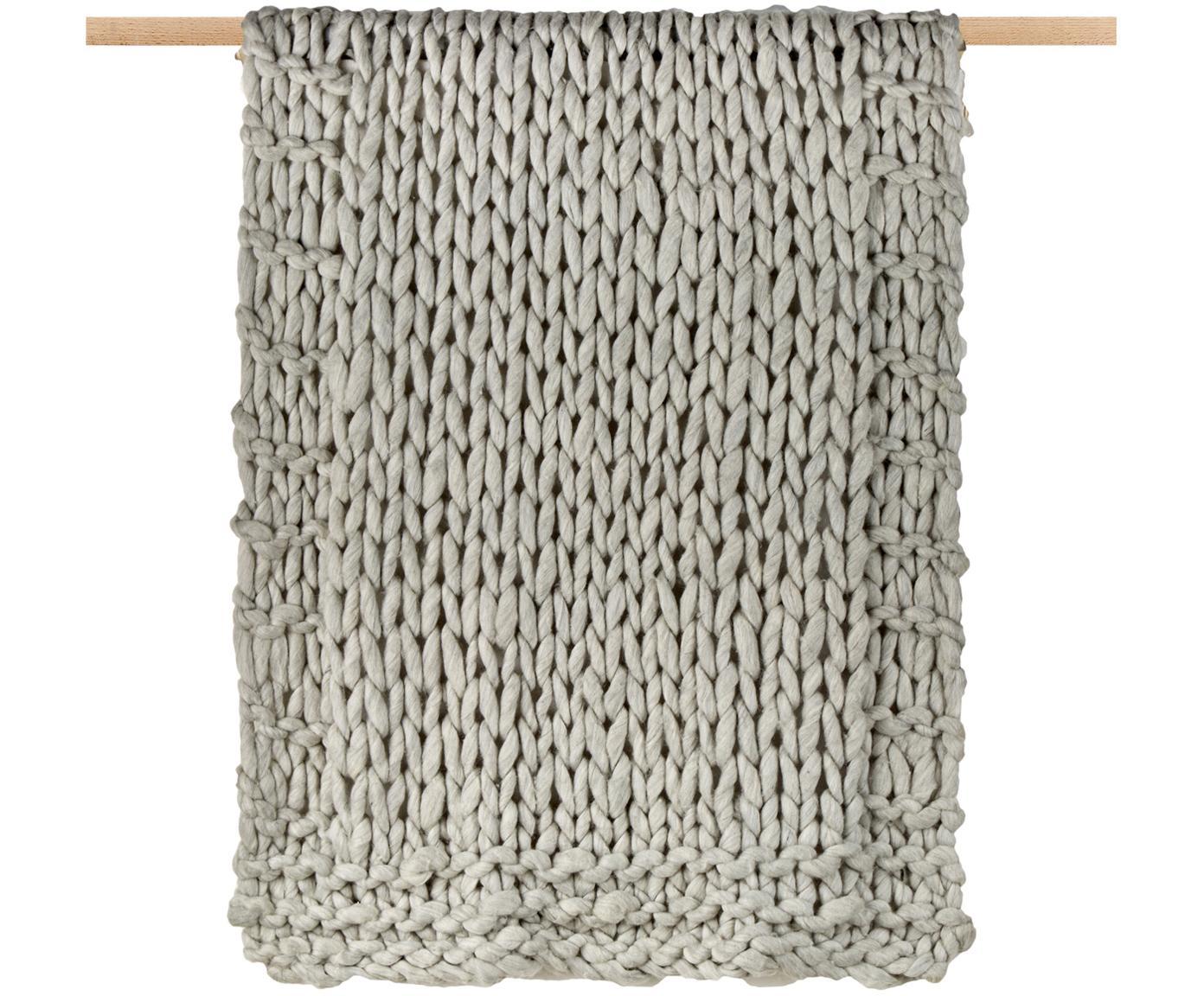 Kleines Grobstrick-Wollplaid Fern, 60% Wolle, 40% Acryl, Grau, 120 x 150 cm