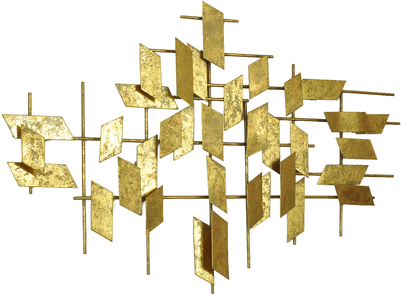 XL wandobject Tara van metaal, Metaal, Goudkleurig, 95 x 60 cm
