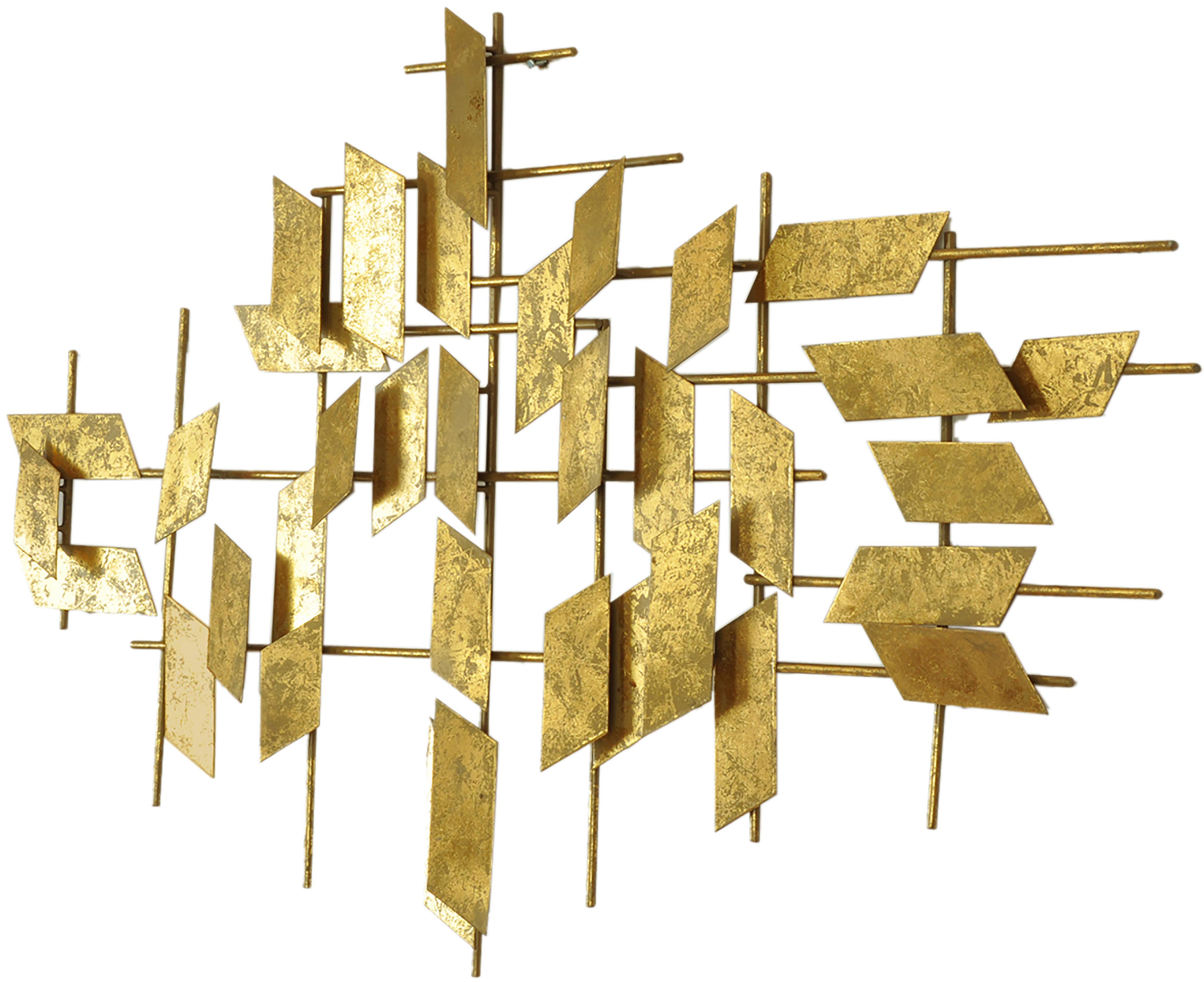 XL-Wandobjekt Tara aus Metall, Metall, Goldfarben, 95 x 60 cm