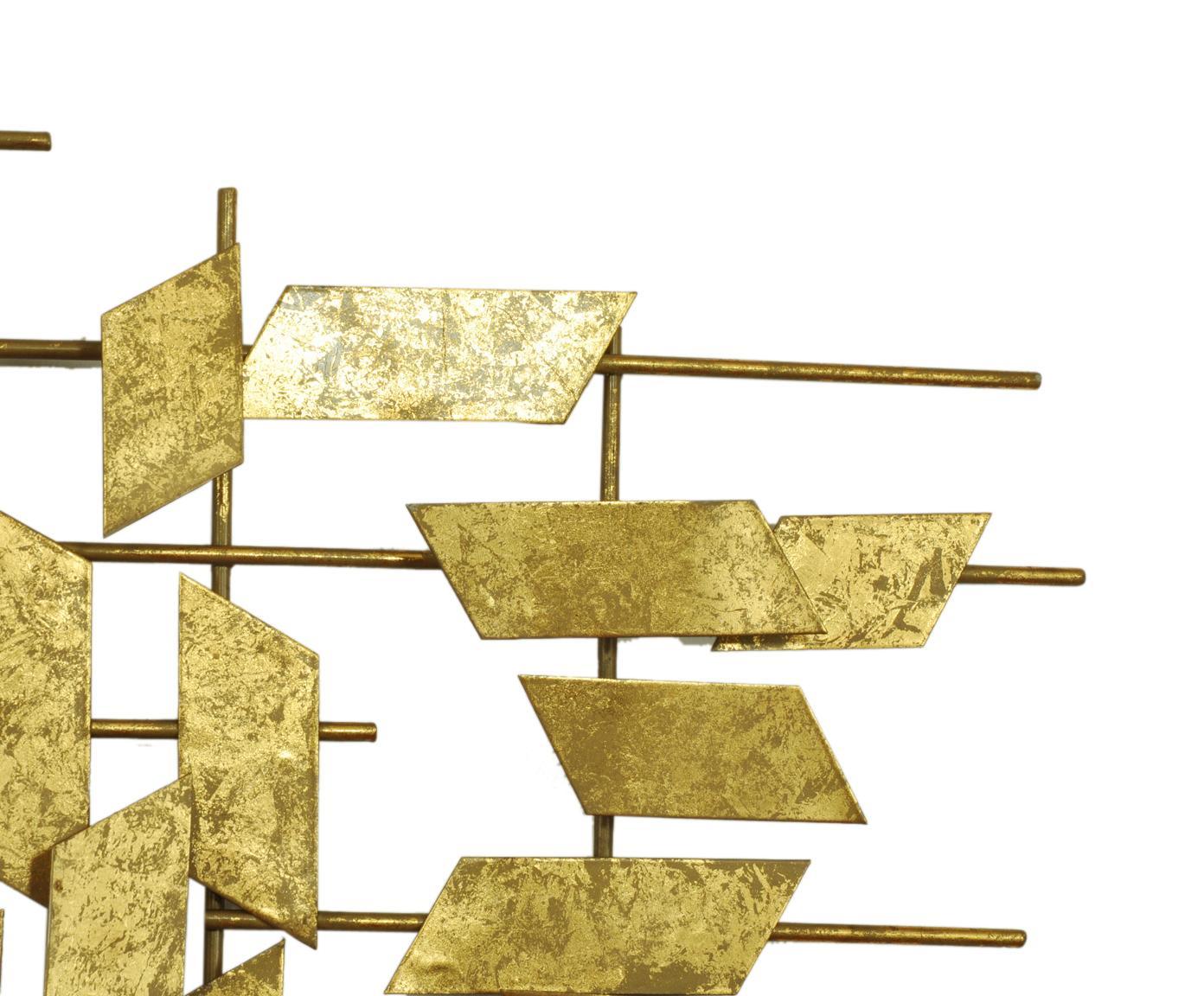 Dekoracja ścienna z metalu XL Tara, Metal, Odcienie złotego, S 95 x W 60 cm
