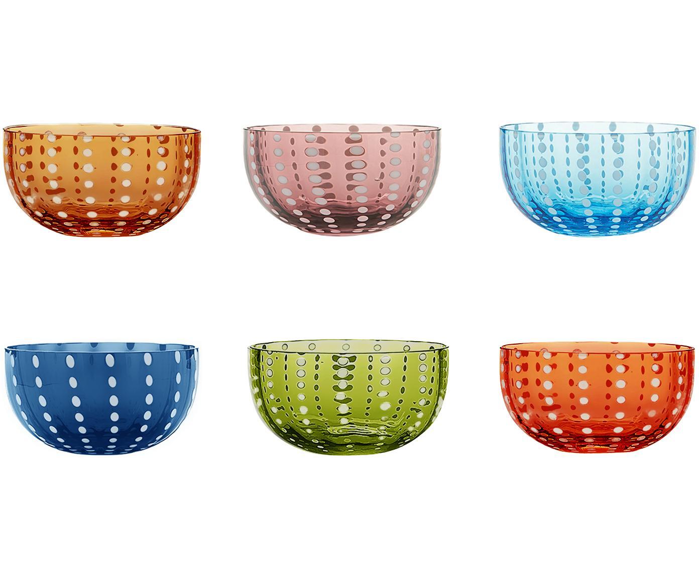 Cuencos de vidrio soplados Perle, 6uds., Vidrio, Transparente, blanco, azul, ámbar, violeta pastel, azul, verde hierva, Ø 12 x Al 6 cm