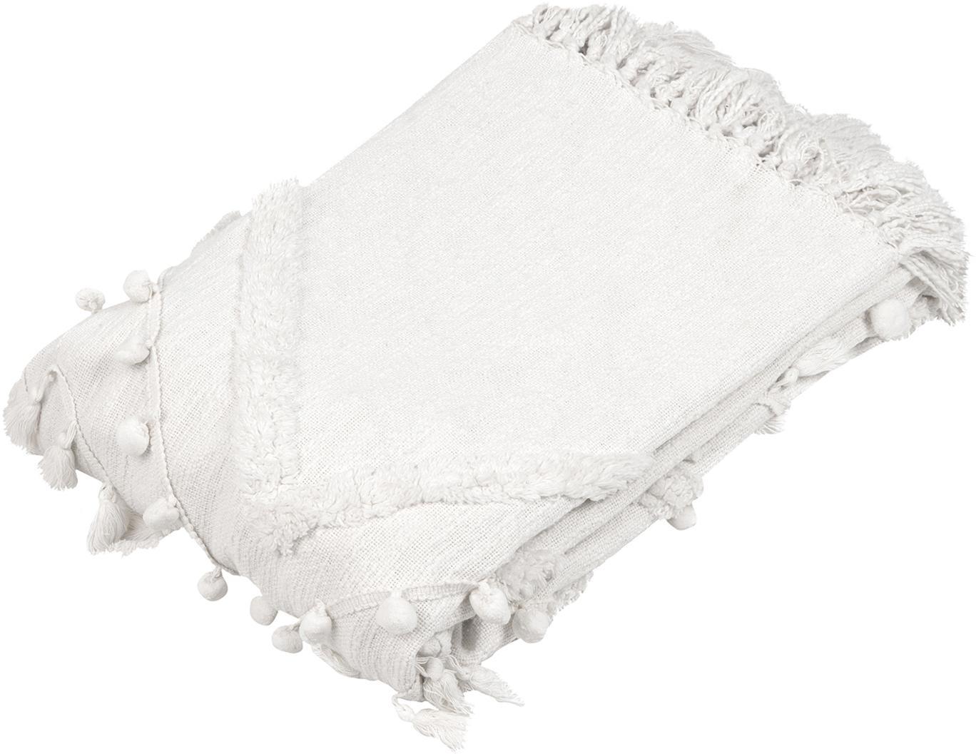 Baumwollplaid Pana mit Quasten und Pompoms, 100% Baumwolle, Cremeweiss, 130 x 170 cm