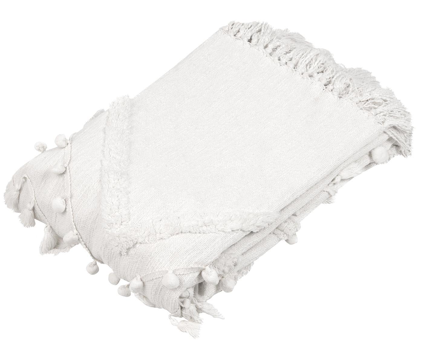 Katoenen plaid Pana, 100% katoen, Crèmewit, 130 x 170 cm