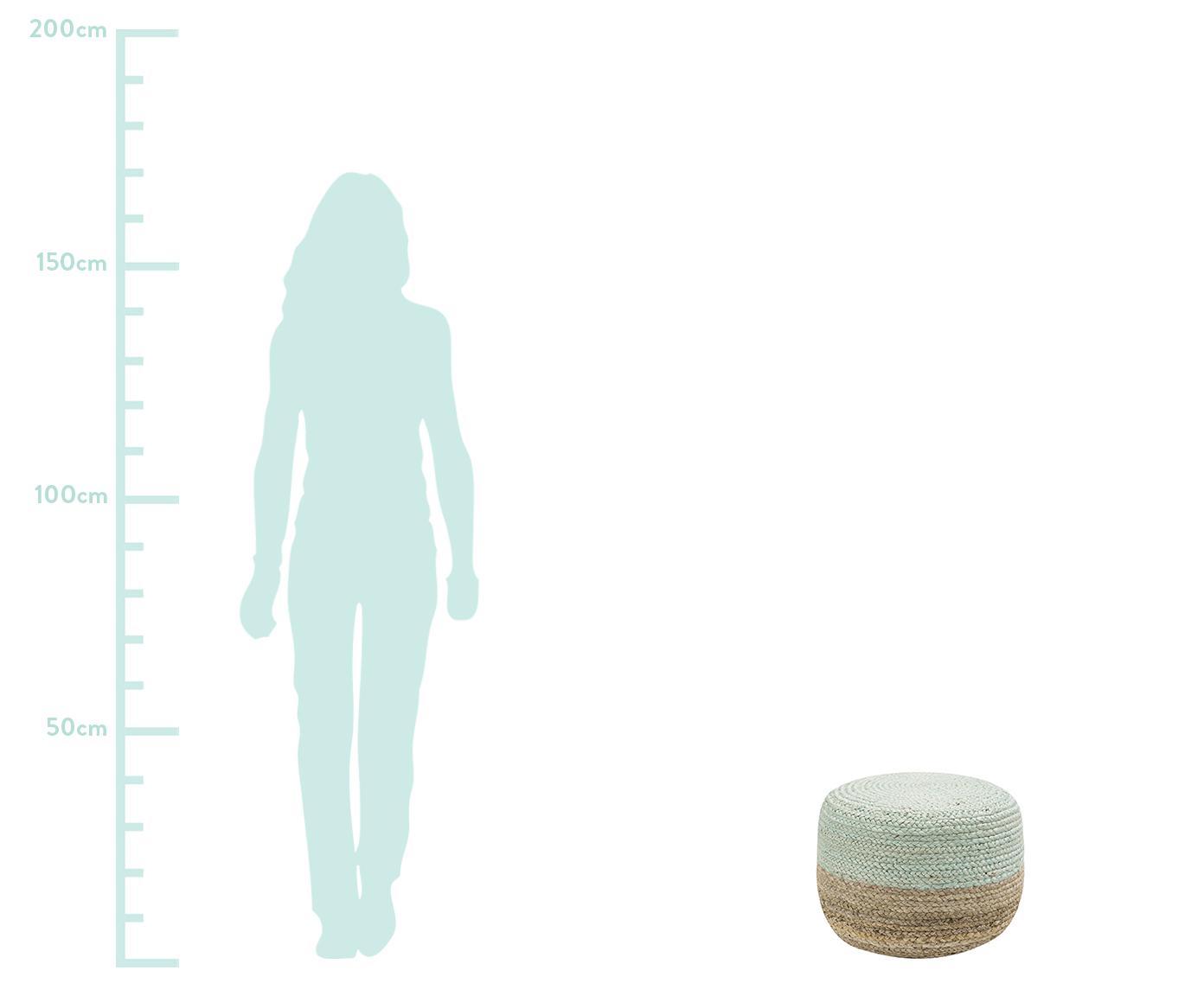 Pouf in juta fatto a mano Bono, Rivestimento: iuta, Canapa, verde menta, Ø 50 x Alt. 36 cm