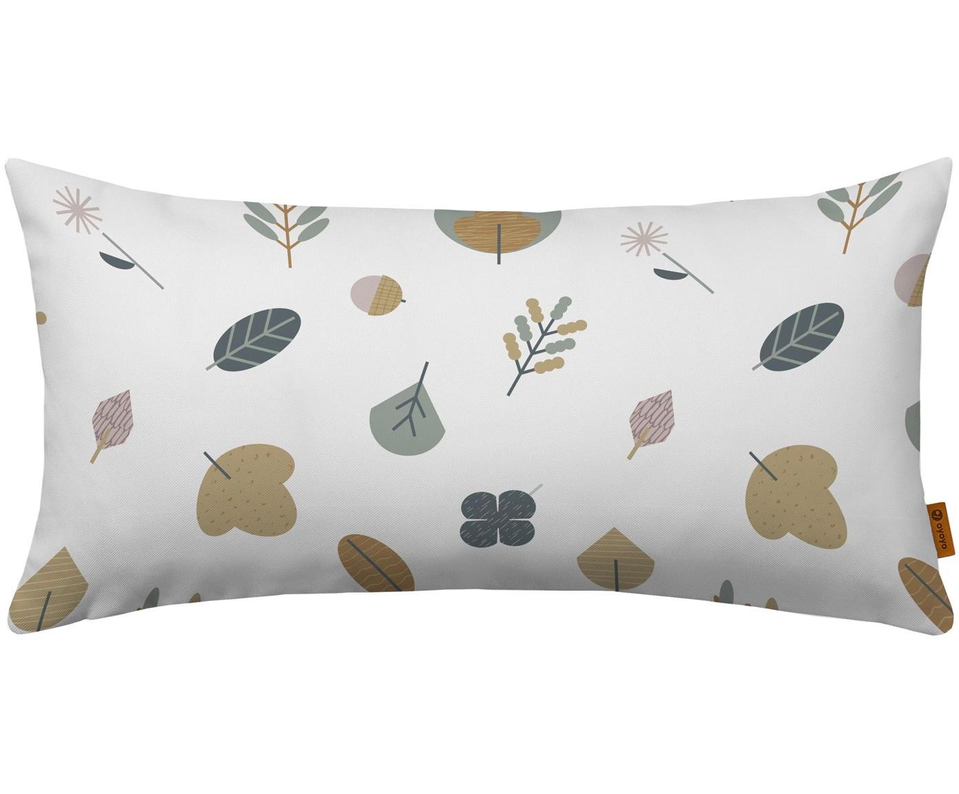 Cuscino imbottito con foglie Leaves, Rivestimento: cotone, Bianco, multicolore, Larg. 30 x Lung. 60 cm