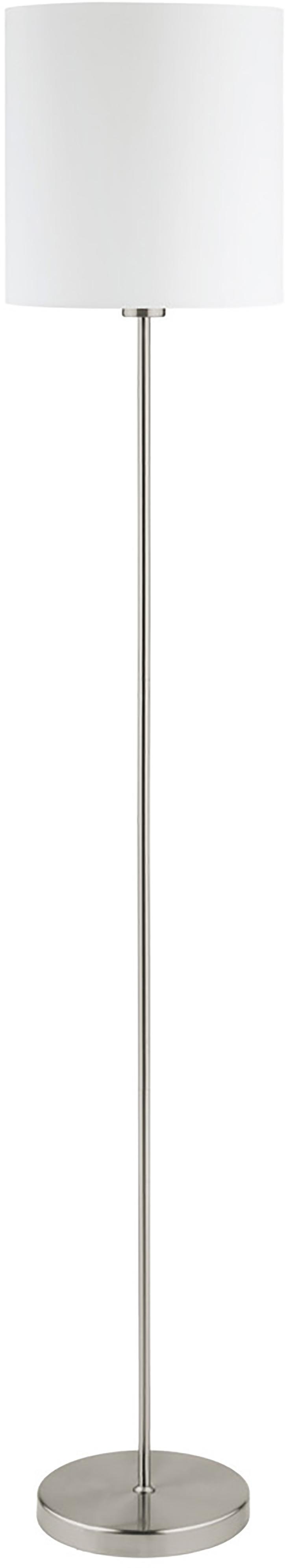 Stehlampe Mick mit Stoffschirm, Lampenschirm: Textil, Lampenfuß: Metall, vernickelt, Weiß,Silberfarben, ∅ 28 x H 158 cm