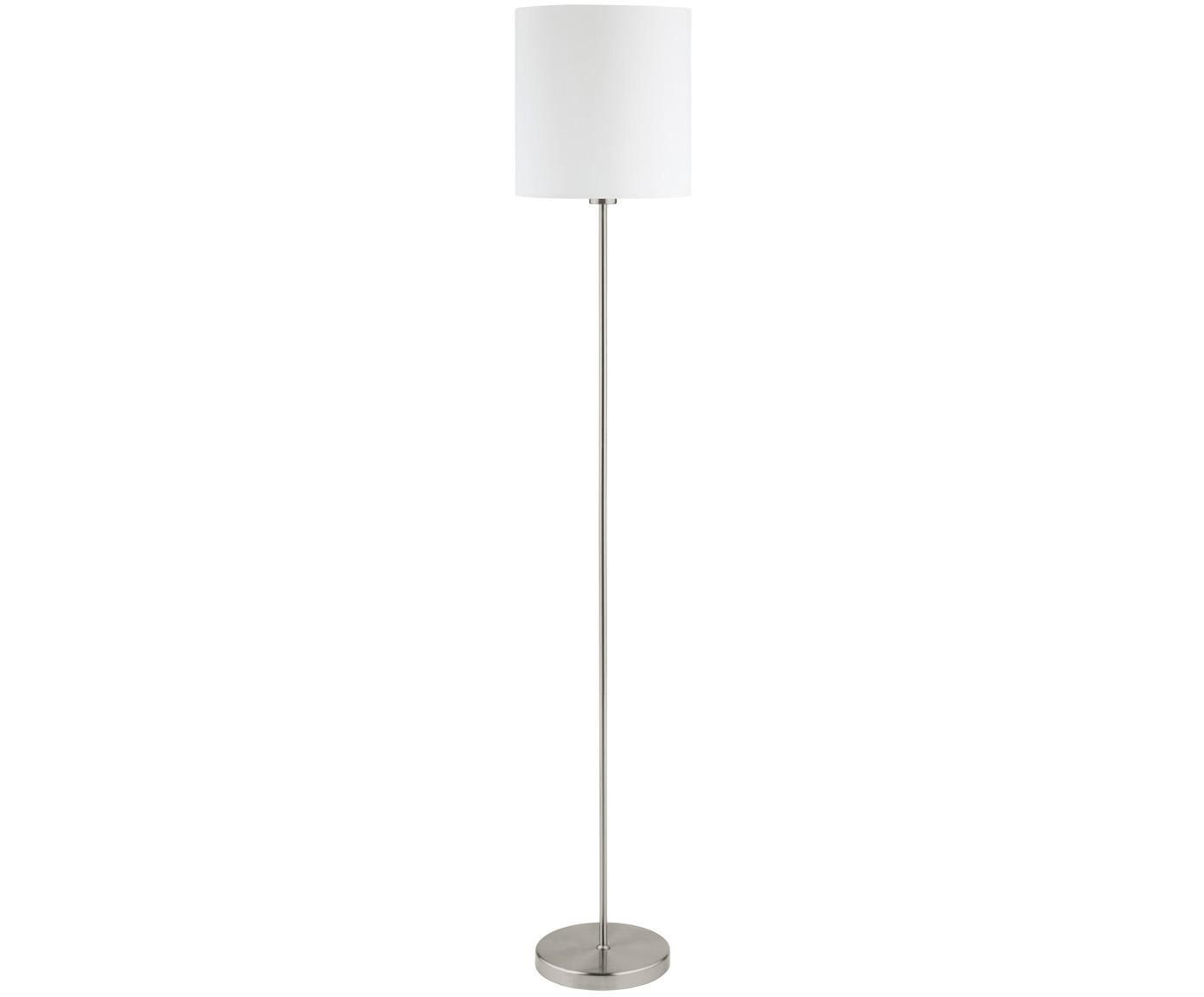 Stehlampe Harry, Lampenschirm: Textil, Weiss,Silberfarben, ∅ 28 x H 158 cm