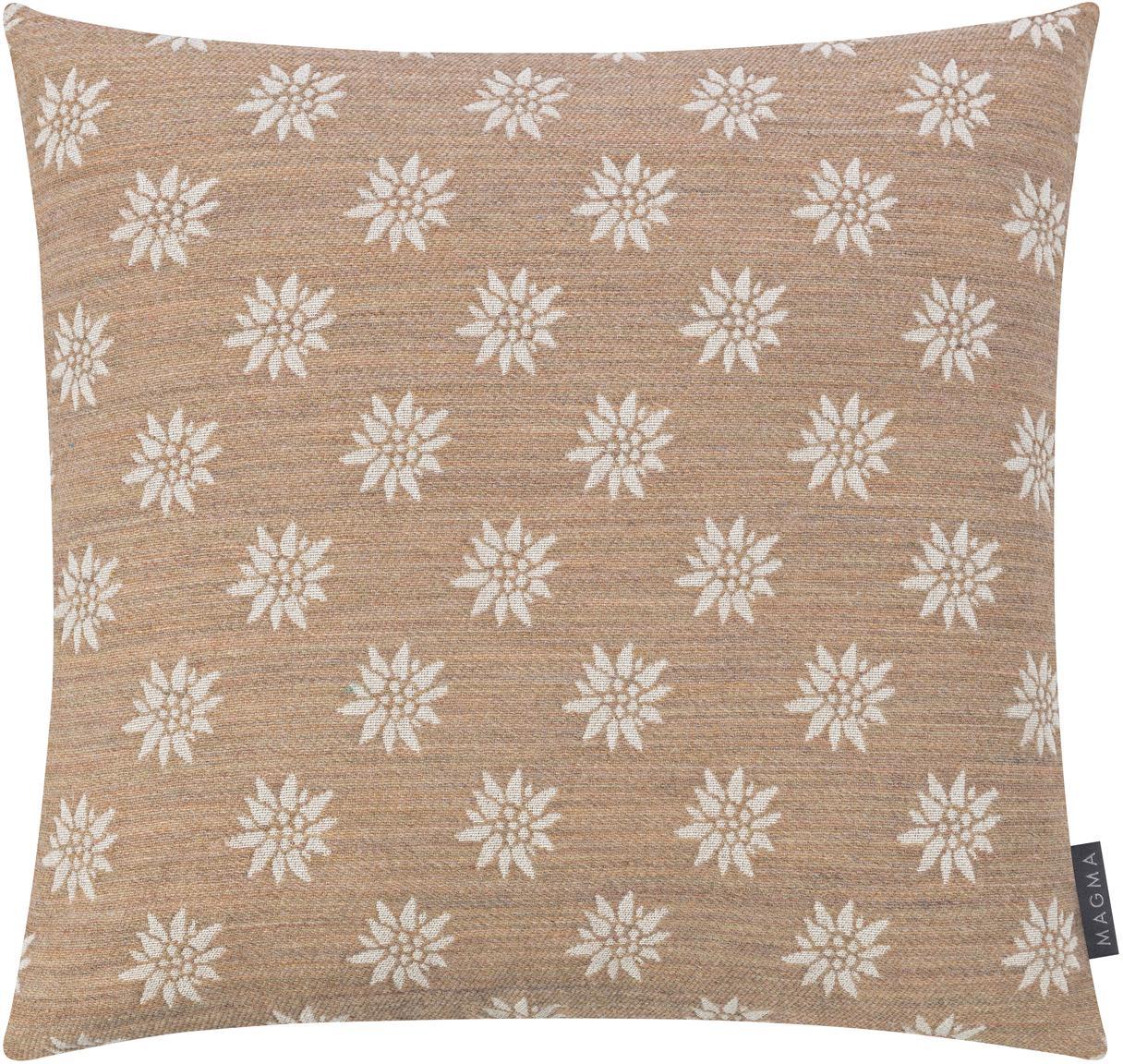 Federa arredo con motivo floreale Leonie, Retro: velluto di poliestere, Sabbia, beige, Larg. 50 x Lung. 50 cm
