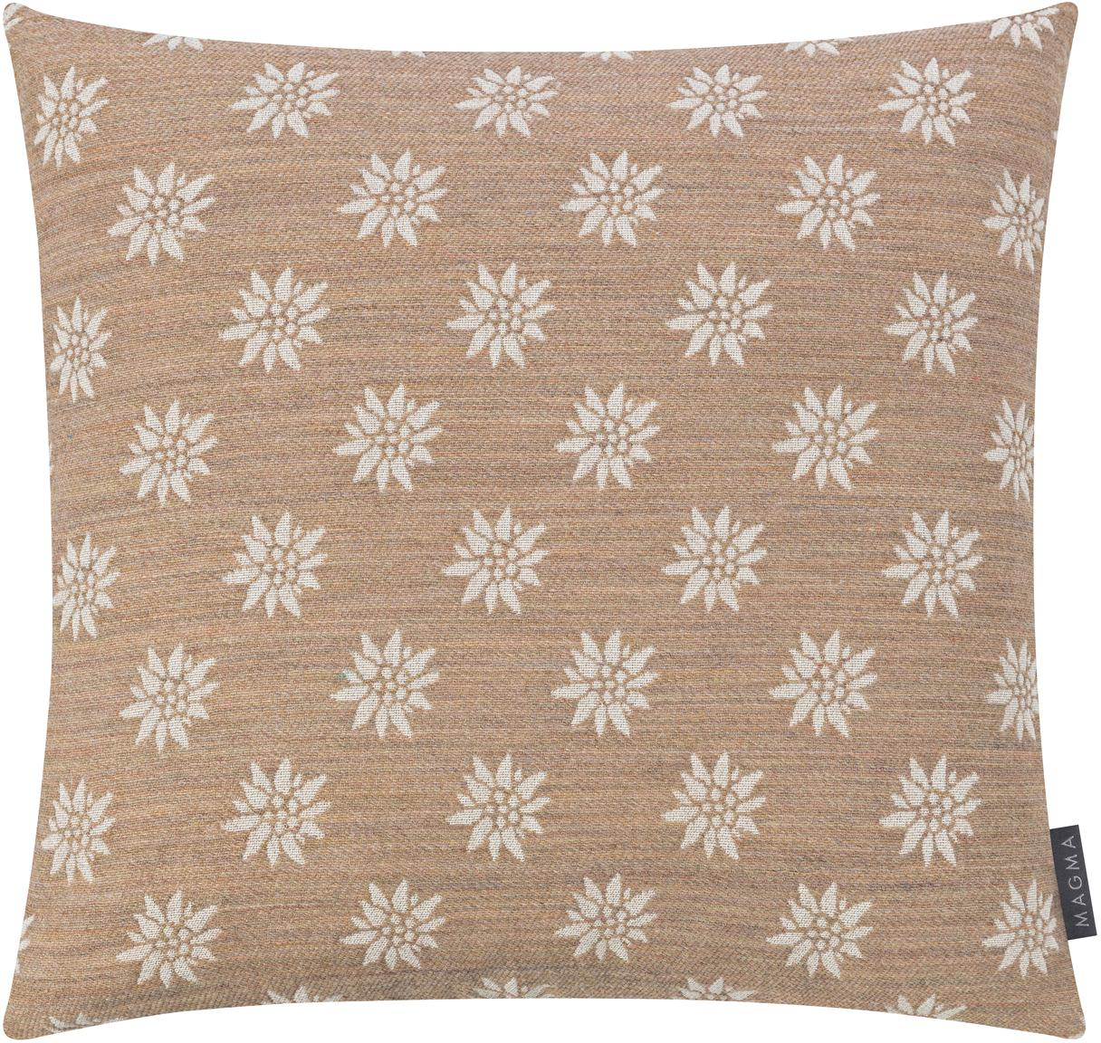 Kissenhülle Leonie mit Blumen-Muster, Vorderseite: 31%Polyester, 29%Baumwo, Webart: Jacquard, Rückseite: Polyestersamt, Sandfarben, Beige, 50 x 50 cm