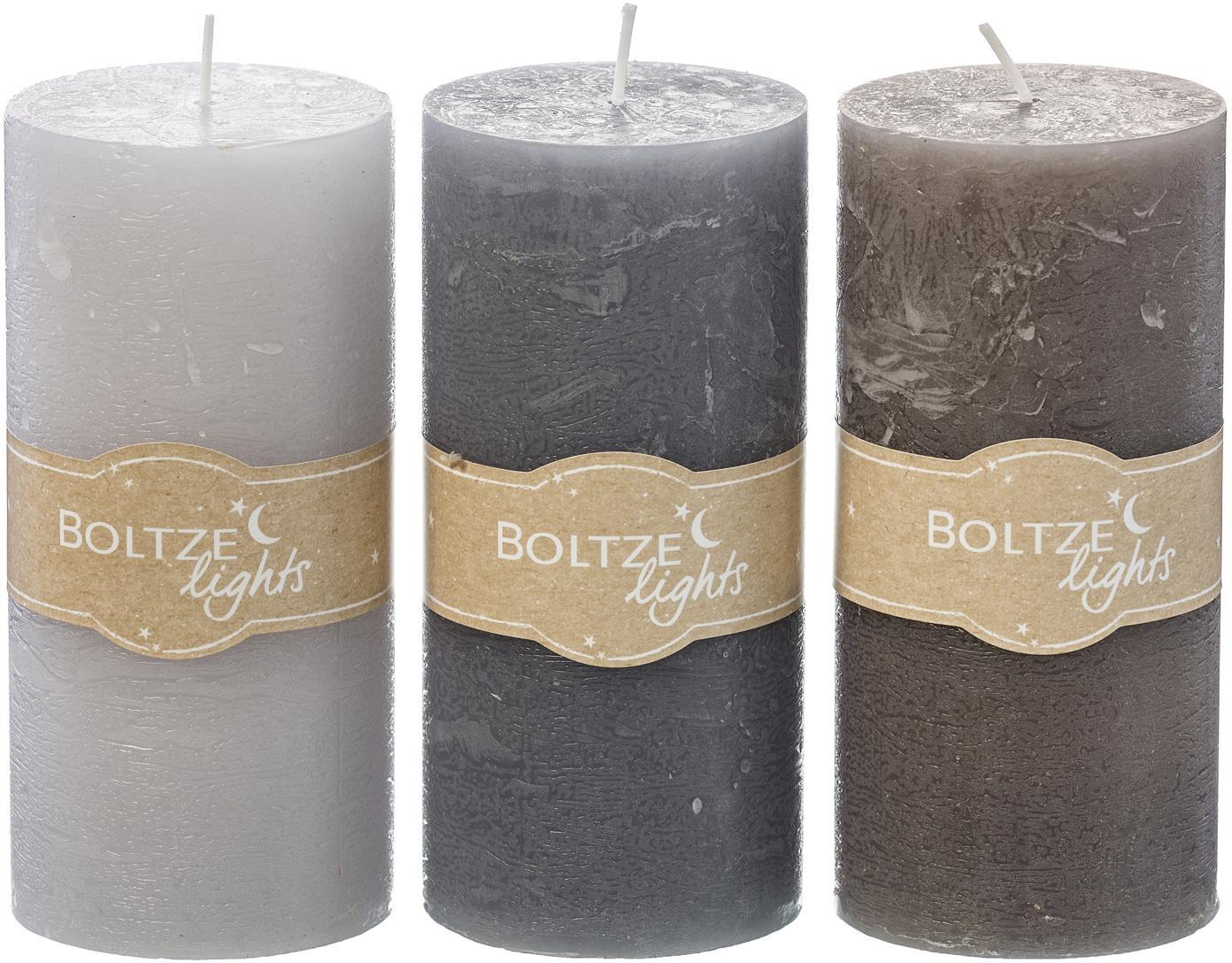 Set 3 candele pilastro Trent, Cera, Grigio, Ø 7 x Alt. 15 cm