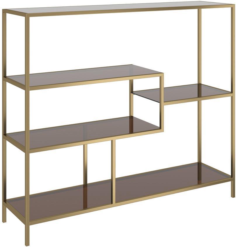 Libreria in metallo ottonato Loft, Struttura: metallo verniciato a polv, Ripiani: vetro temperato colorato, Ottonato, Larg. 115 x Alt. 100 cm